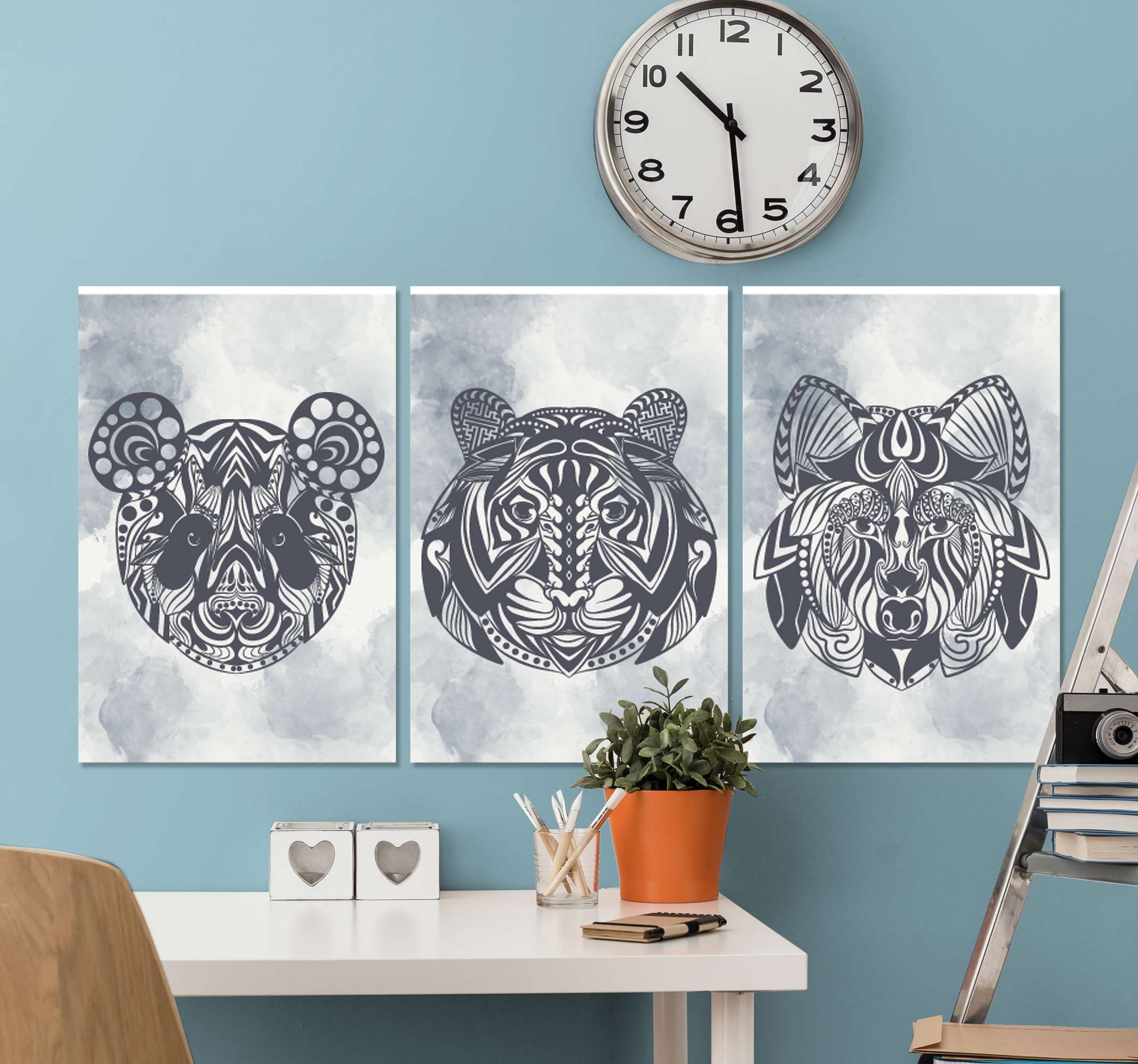 TenStickers. Animal Face mandala print wall art. Mandala canvas print which features 3 different canvas prints all with unique animal faces in a mandala pattern. Sign up for 10% off.