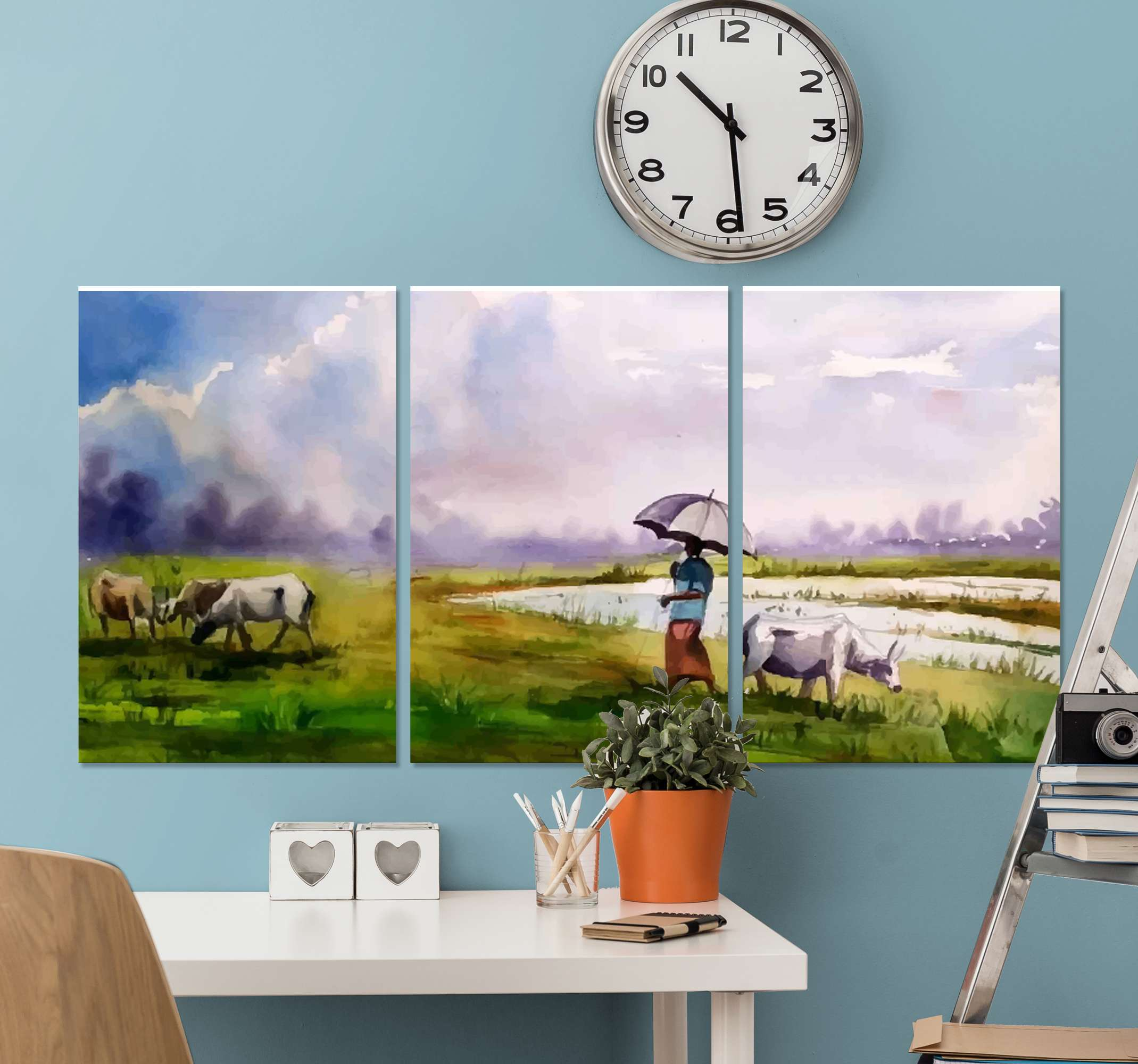 TenStickers. Rural landscape canvas wall art. Natural landscape canvas painting depicting a rural nomad man taking his animal on grazing in the field. The design is printed in high quality finish.