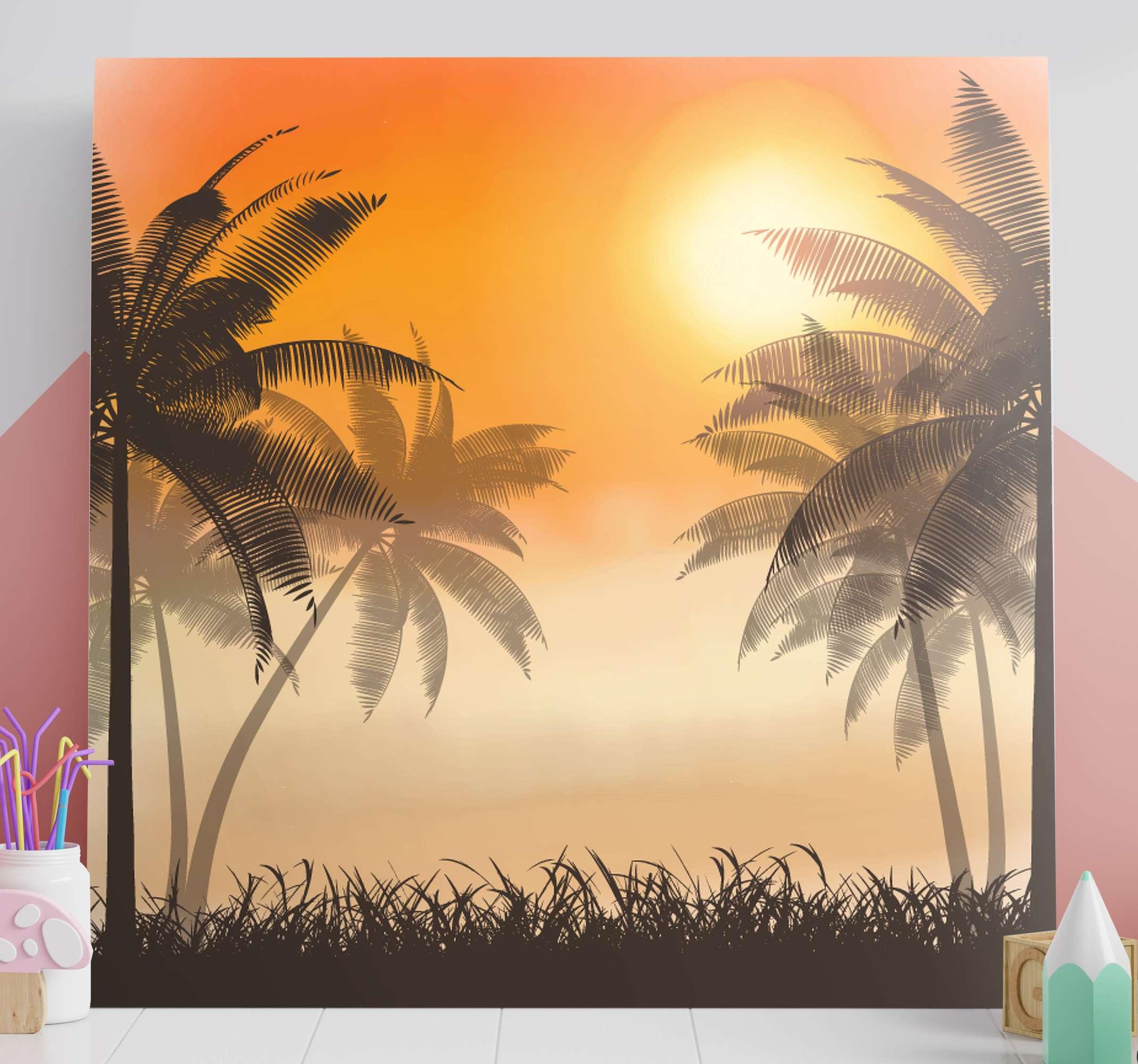 TenStickers. 日落风景帆布墙艺术. 一棵舒缓的棕榈树,带有日落风景帆布壁画。这是用于客厅,办公室和其他首选空间的可爱画布设计。
