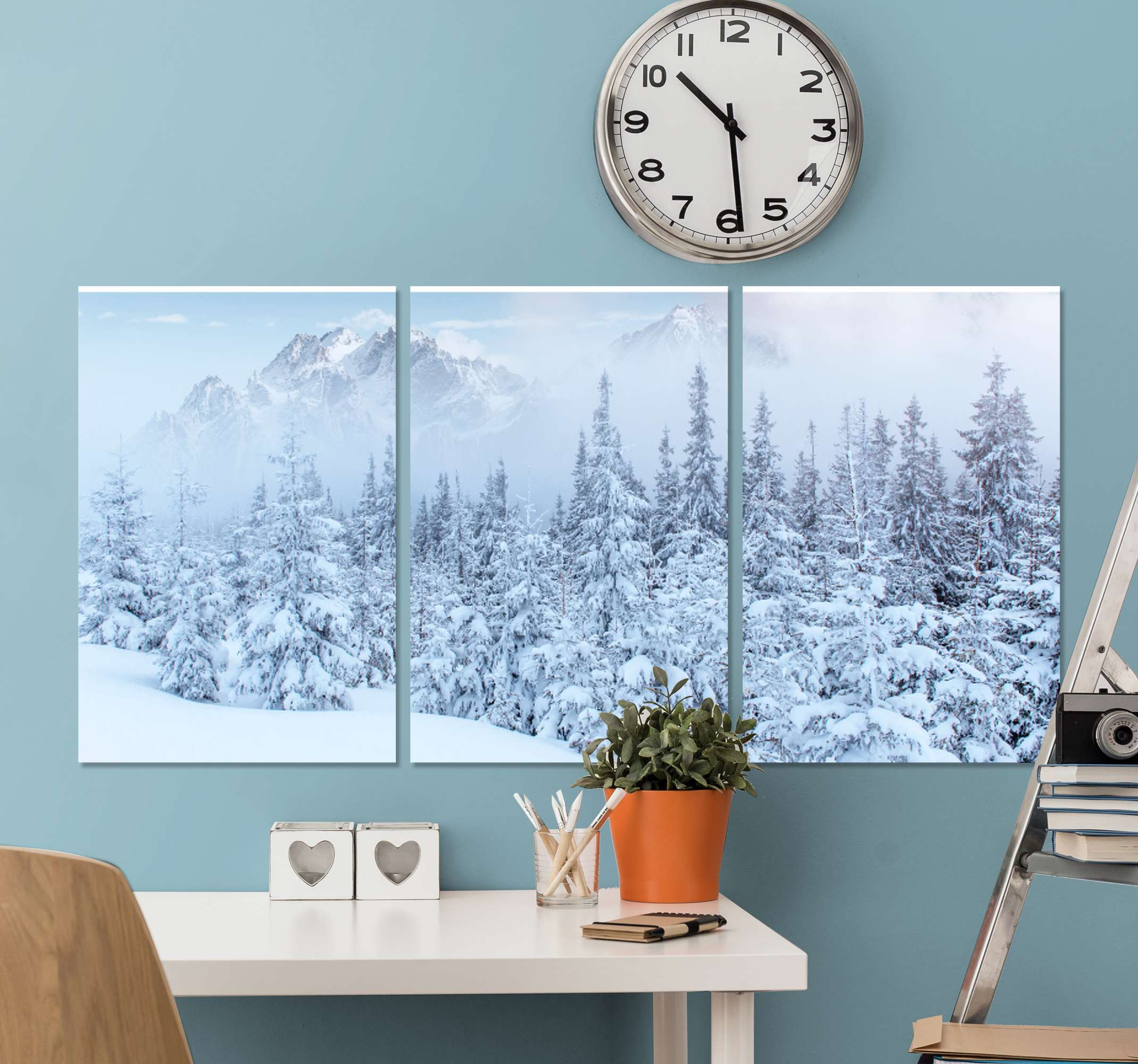 TenStickers. Snowy landscape canvas wall art print. Winter snowy landscape canvas wall art to decorate your home in a lovely way. The design is printed in high quality finish and it is durable.