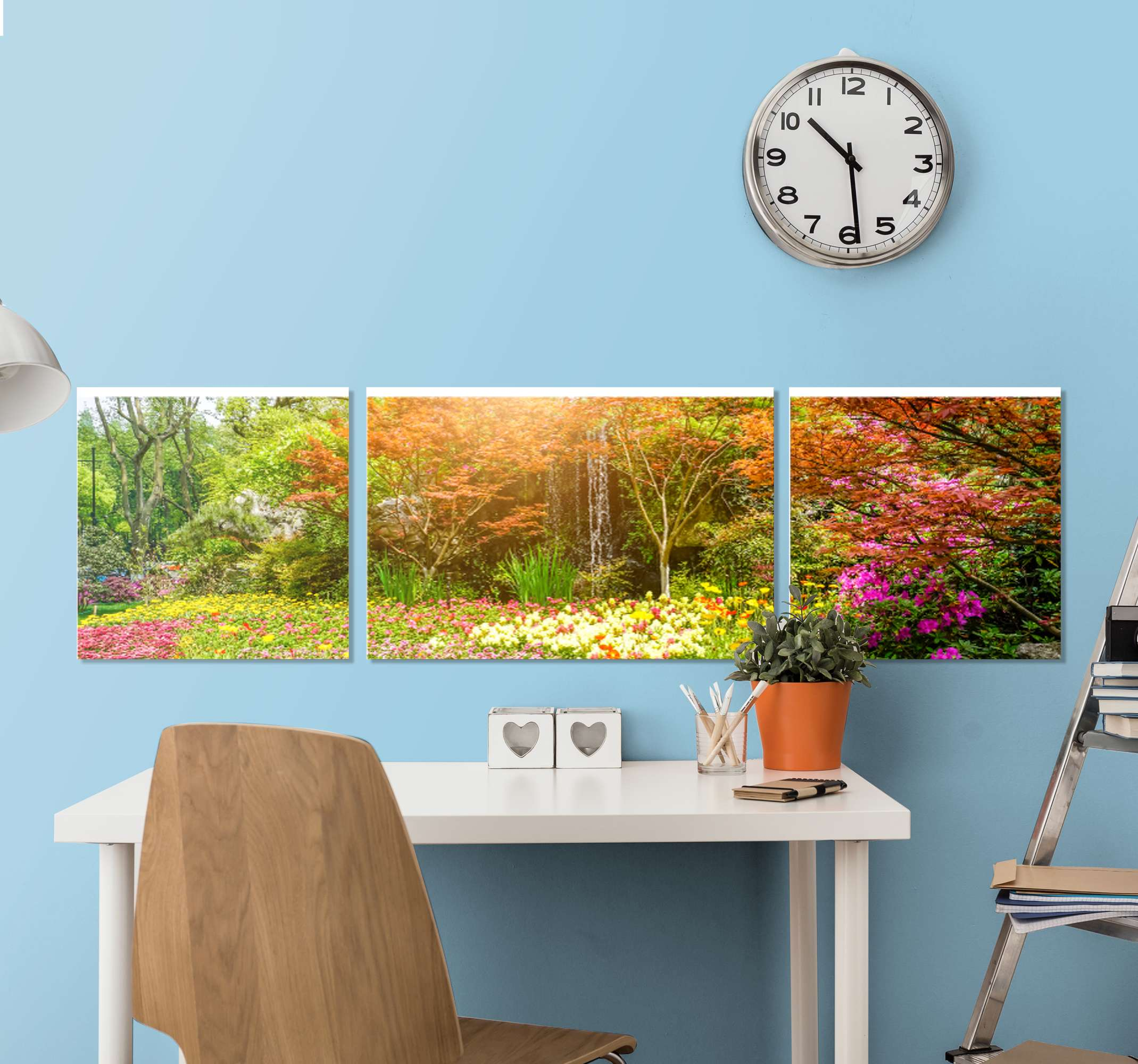 TenStickers. Spring landscape wall art. Spring landscape landscape canvas spread on three canvases of 40x40cm each.  Lovely to decorate any space in the home. Printed in high quality finish.