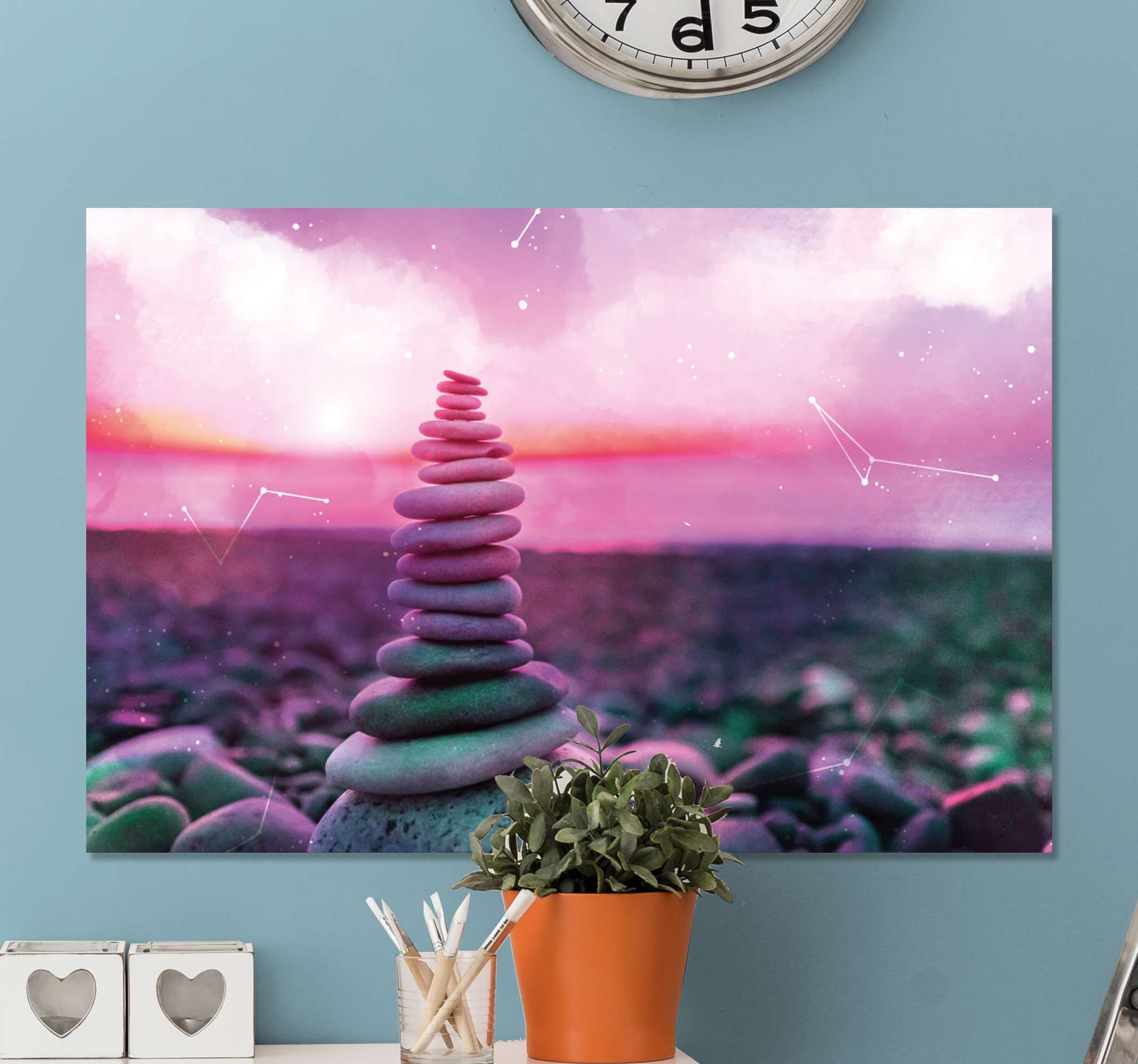 TenStickers. Zen stones zen canvas wall art. Zen stones canvas art print with lovely background effect. The wonder of these laid up stone design would evoke the feeling of calmness on your space.