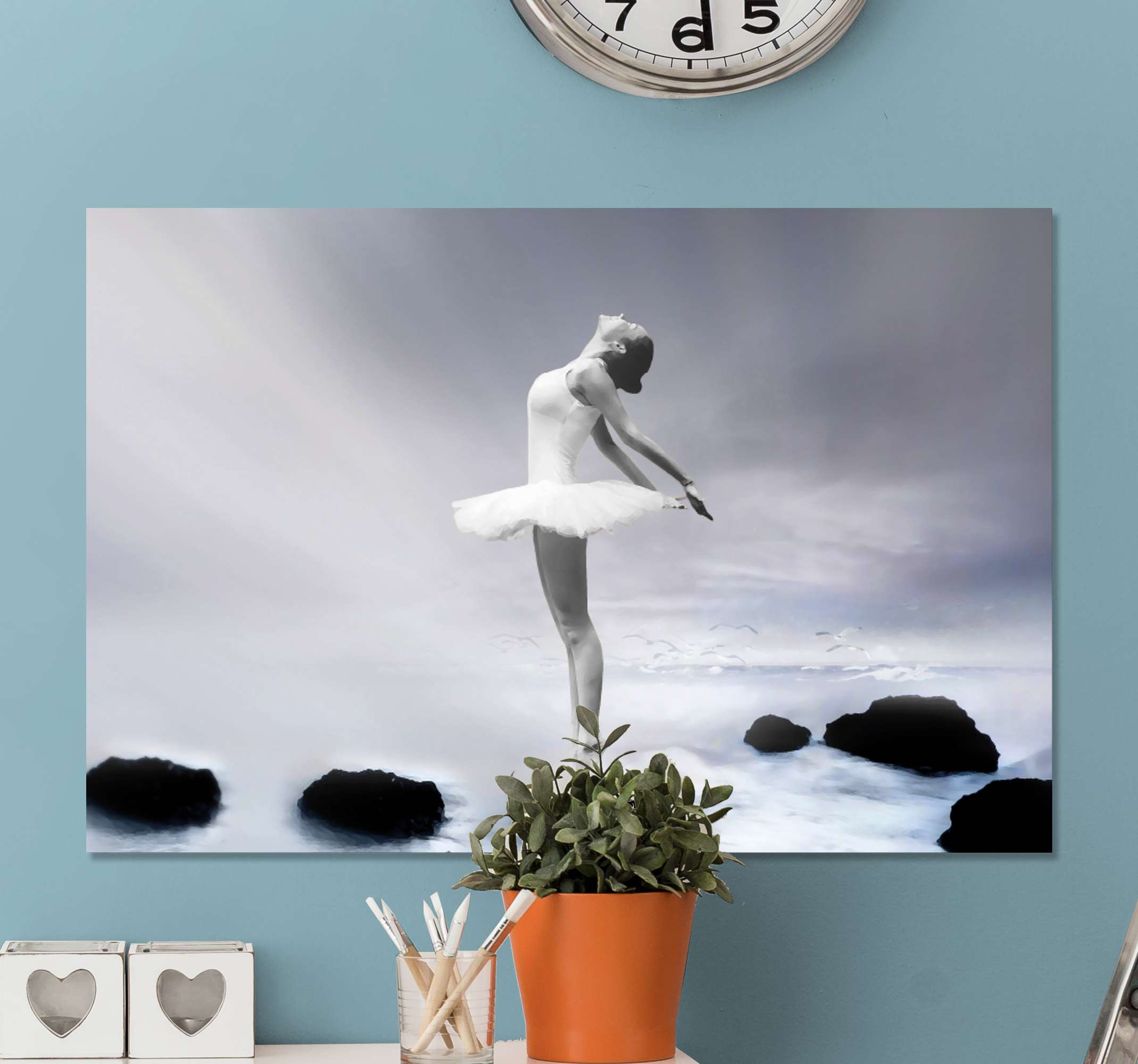 TenStickers. Realistic Ballerina canvas prints. Canvas print with a balerina, made of high quality materials. The pattern presents a dancing balerina on a black and white background.