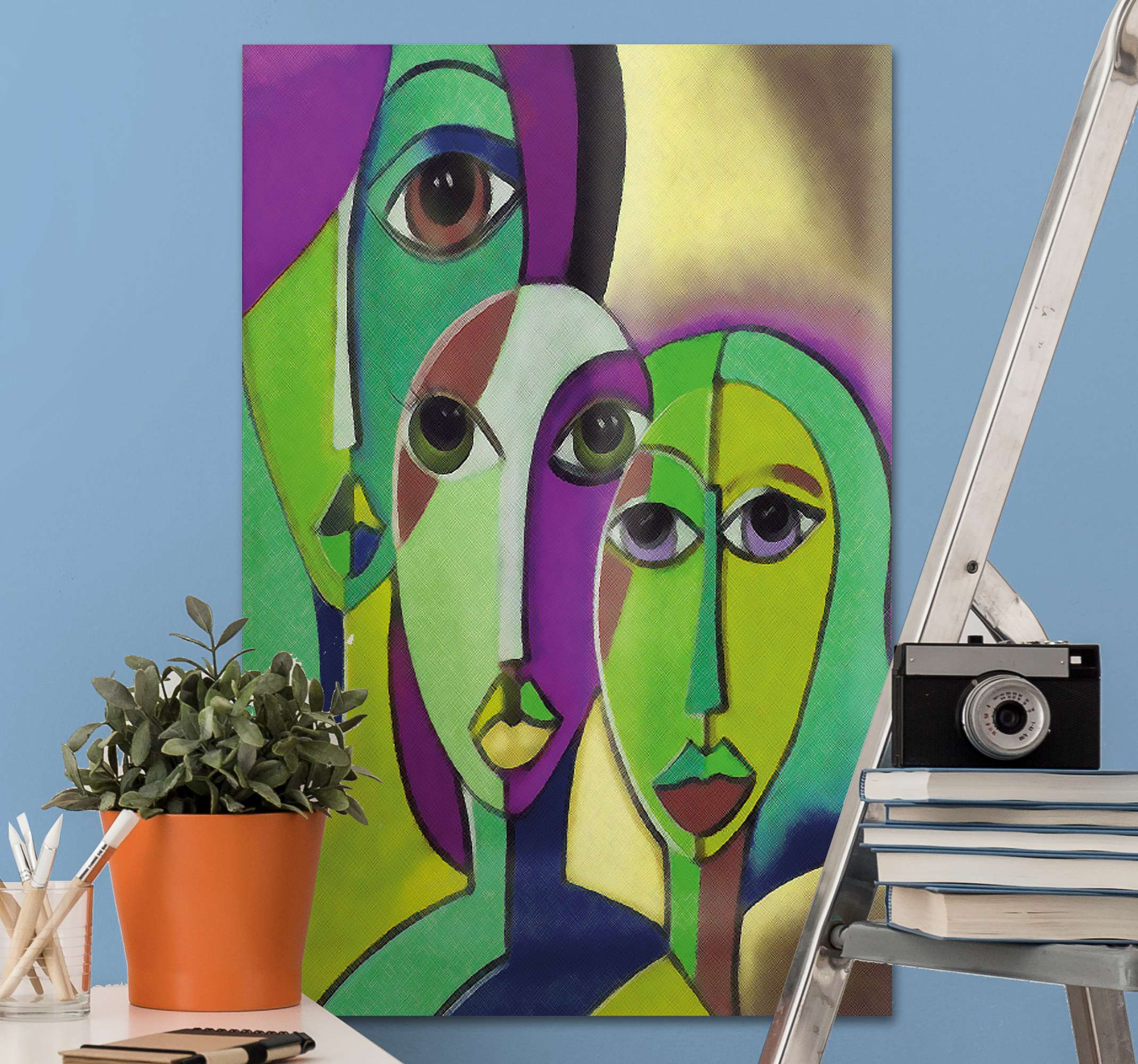 TenStickers. 人们全家福人物和人物帆布版画. 适用于家庭装饰,办公室,商业,轿车,水疗中心,客房等的人物和角色画布艺术印花。它经久耐用且抗褪色。