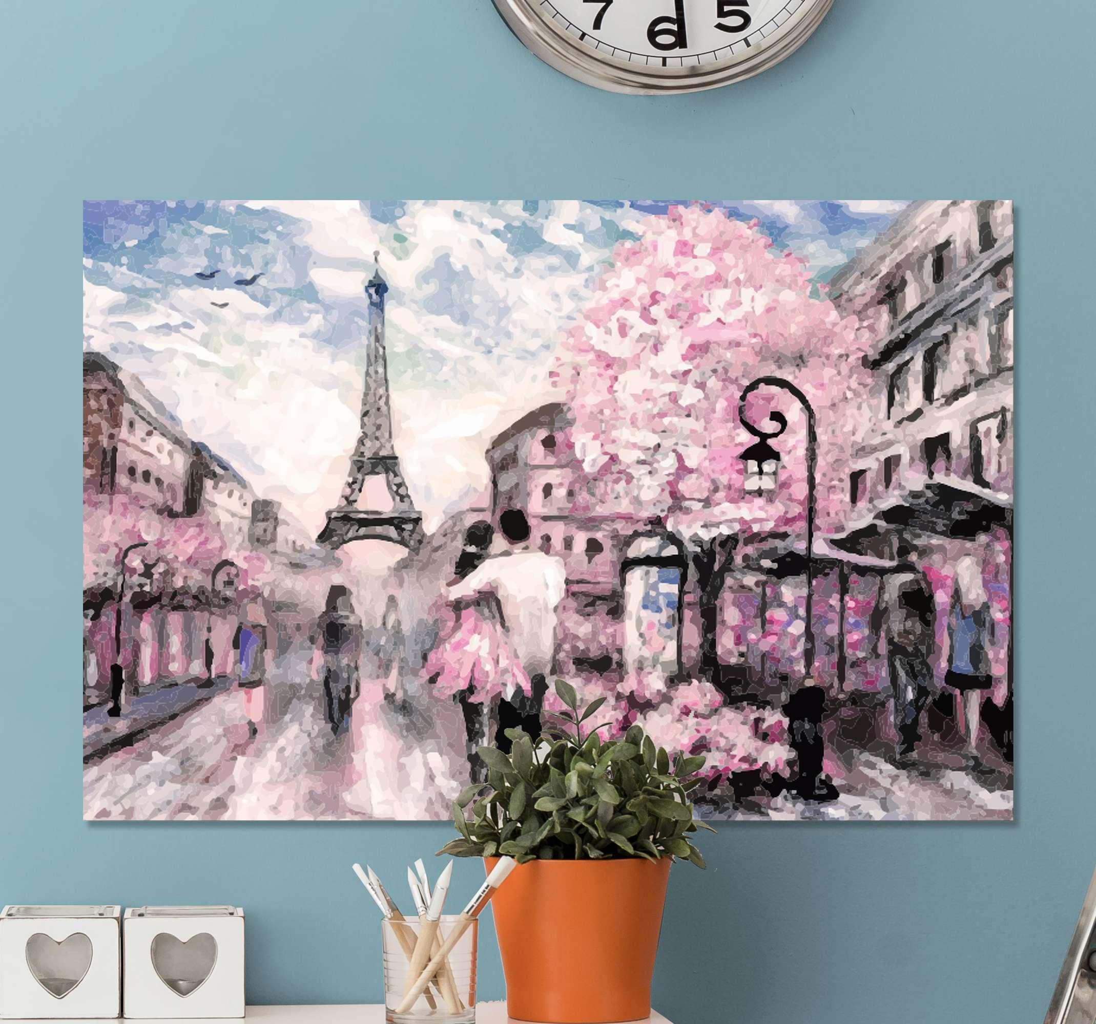 Tenstickers. Personas parejas en parís ľudia a obrazy na plátne. Toto parížske plátno je určené pre vás! Ponúka neuveriteľný výhľad na časť tohto nádherného mesta so zvýraznením eiffelovej veže