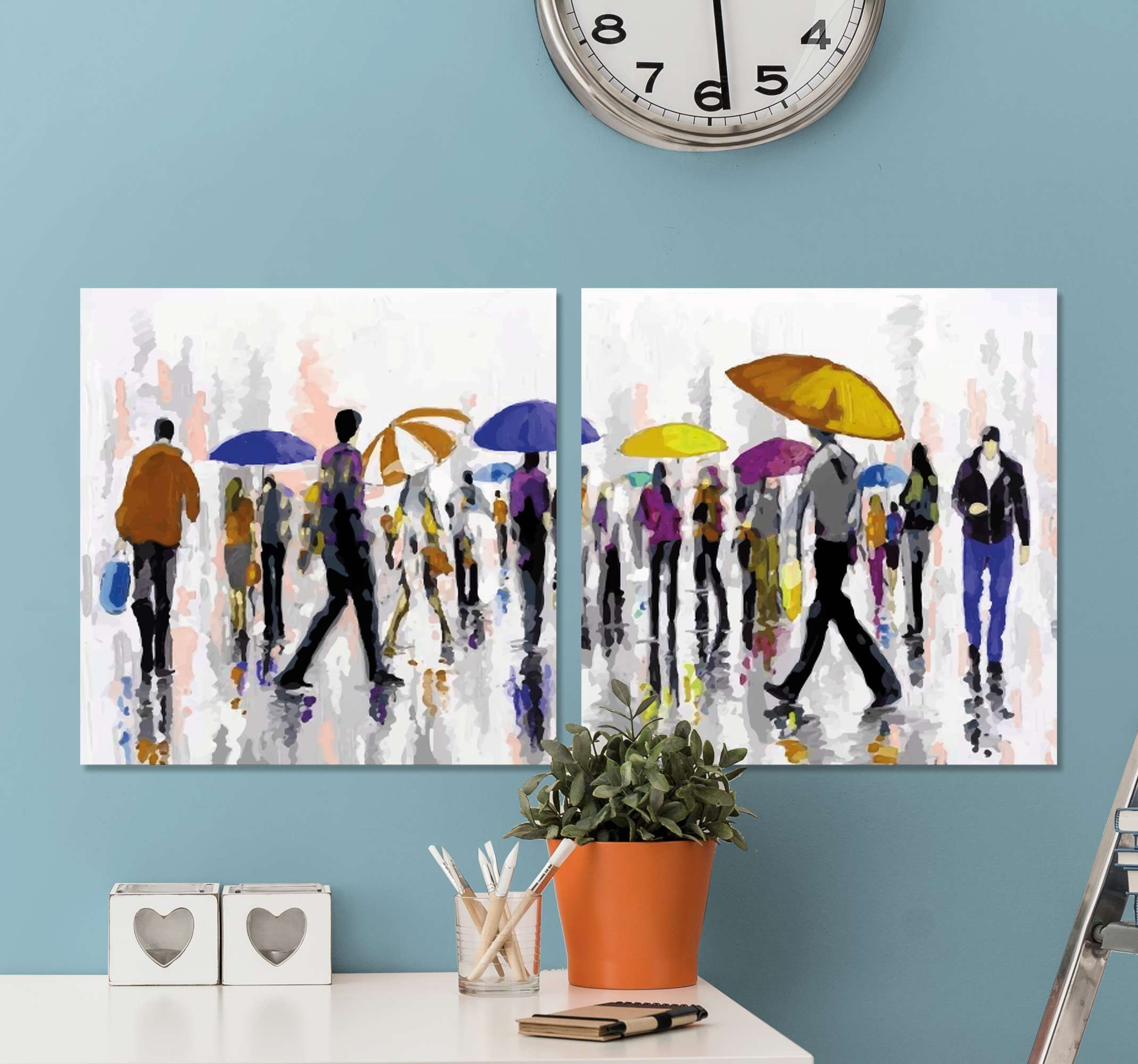 TenStickers. Personas bajo la lluvia people and character canvas prints. Canvas print with people in rain. The pattern shows a crowd with colorful umbrellas. Made of high quality materials. Check it out!