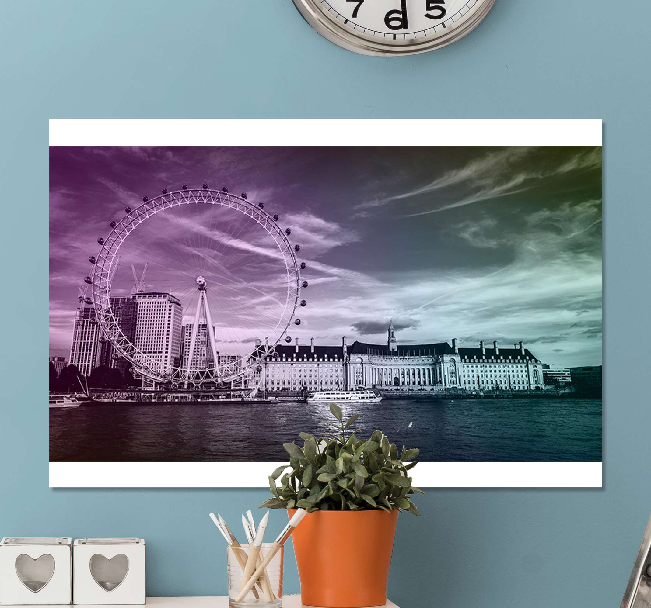 TenStickers. Personas paisaje de Londres people and character canvas prints. This canvas is made for you! Thanks to this canvas of the splendid City of London, your home will look great in your home!