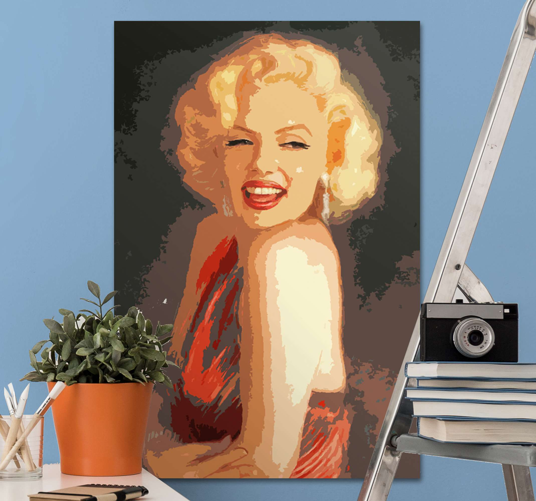 TenStickers. Marilyn Monroe character canvas. Canvas print Marlyn Monroe. It presents the actress smiling and wearing a red dress. Made of high quality material. Easy to hang or clean.