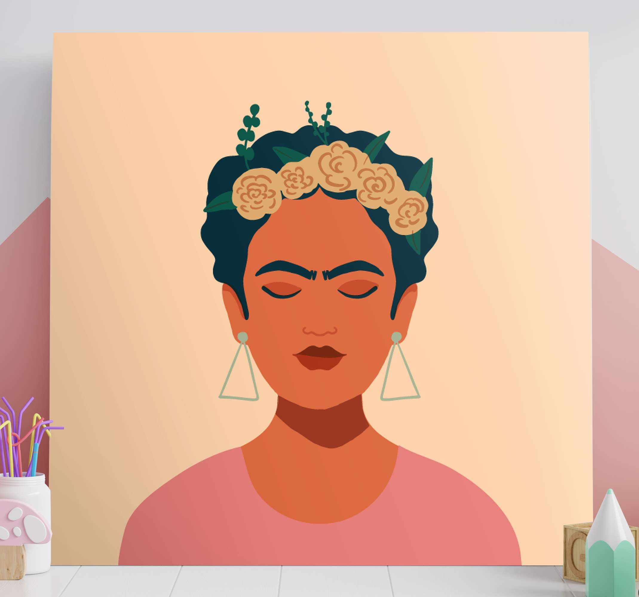 TenStickers. Frida Khalo character canvas. This Frida Khalo canvas is easily hung on on a drawer or a shelf. With this product you have a guarantee of quality and a unique look
