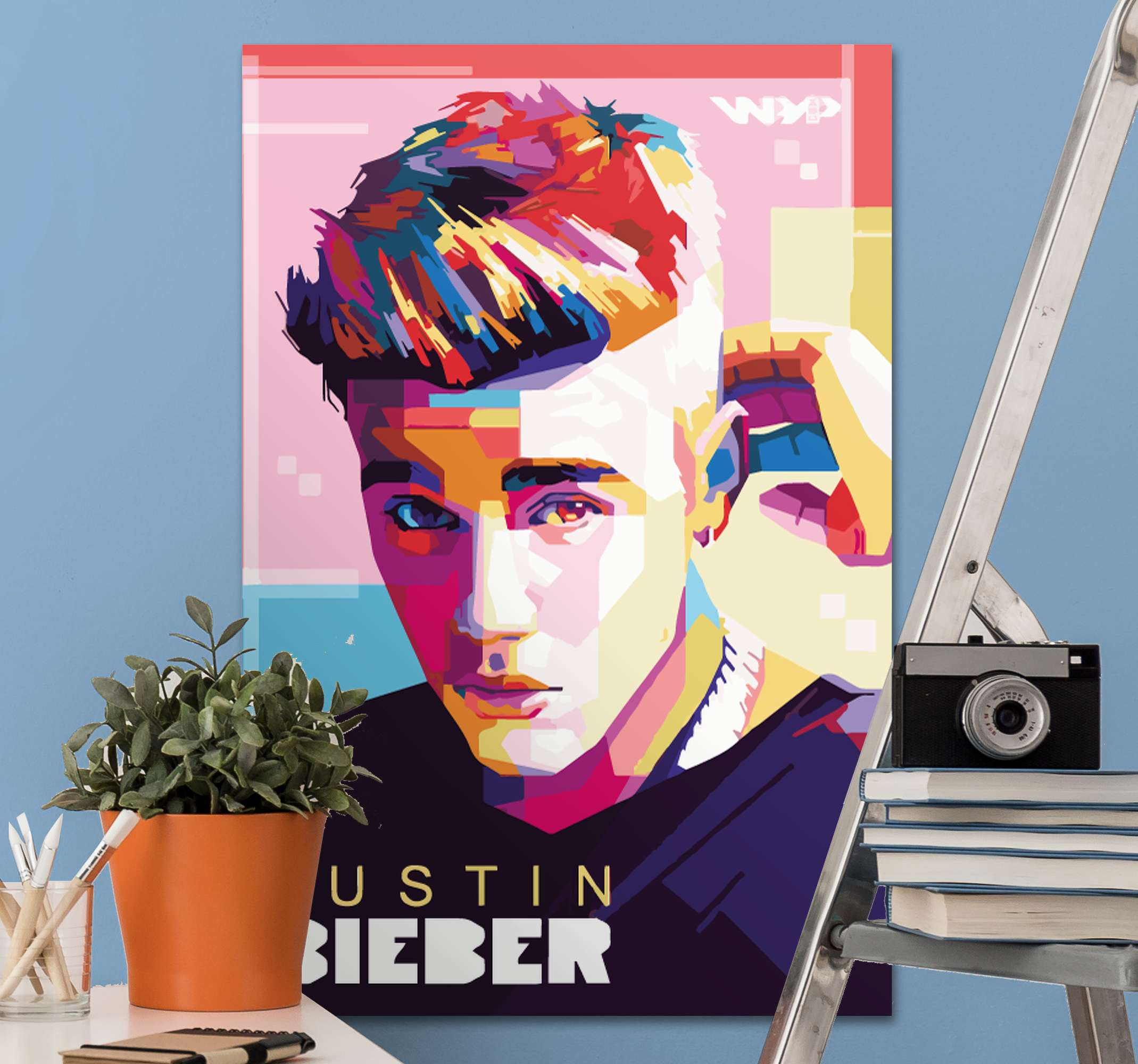 TenStickers. Personajes Justin Bieber multicolor character canvas. This amazing Canvas Print with Justin Bieber is for you!  With this product you have a guarantee of quality and a unique look
