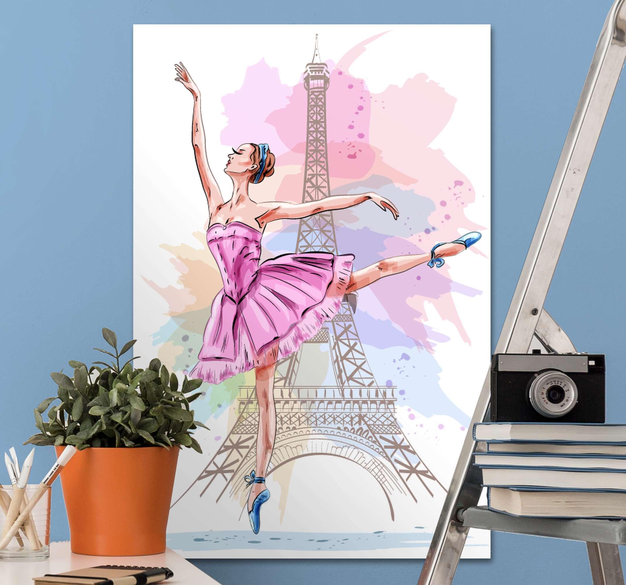 TenStickers. 芭蕾舞女演员在巴黎画布墙艺术. 对古典舞充满热情?这款壁画画布适合您!这个cancan在任何房间里看起来都很棒!送货上门 !