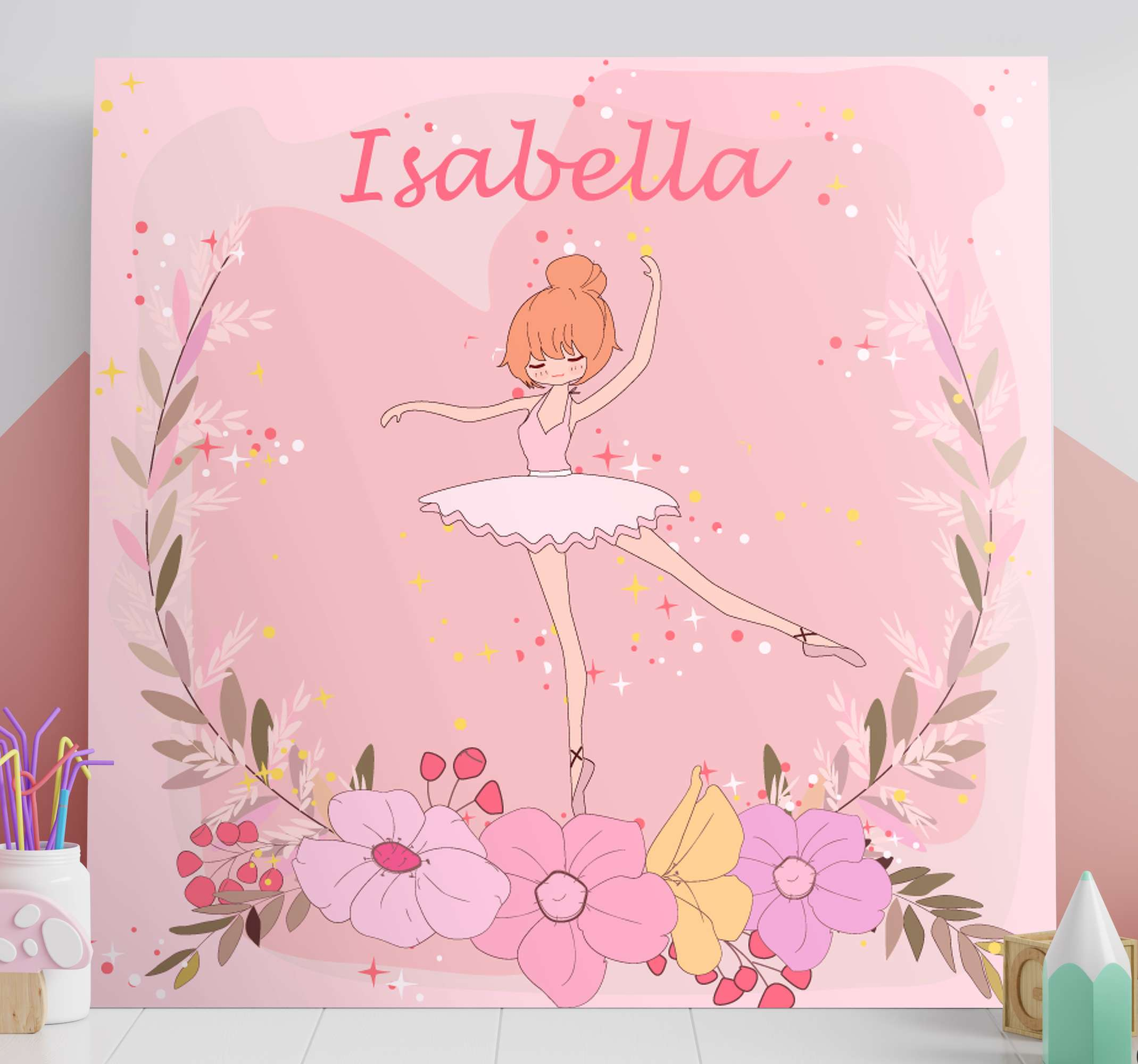 TenStickers. Personalised Floral Ballerina canvas wall art. This lovely canvas wall art customizable with your child's name will look amazing in your nursery! Order now! Home delivery !