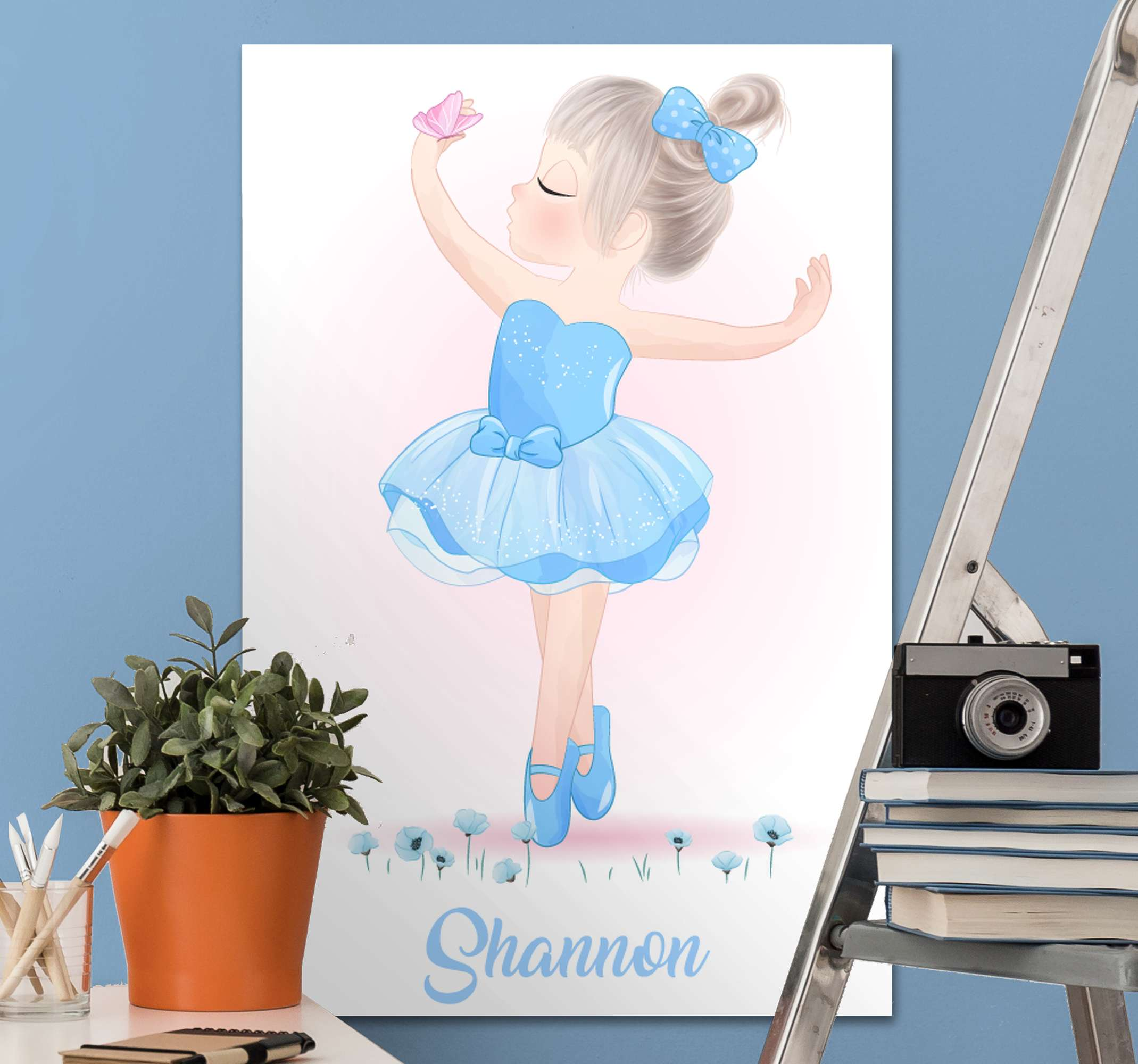 TenStickers. Blue Personalised Dancer canvas wall art. This amazing customizable wall art canvas will look amazing in your little girls nursery! It features a cute blue cartoon dancer.