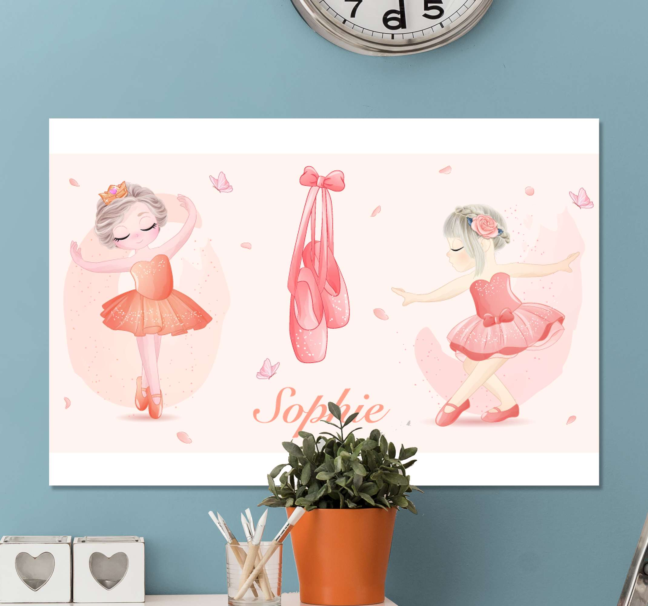 TenStickers. Personalised Kids Ballerina canvas wall art. Live your passion for music with this deuseuse etoie canavs, it will look amazing in any room!  Order now ! Home delivery !