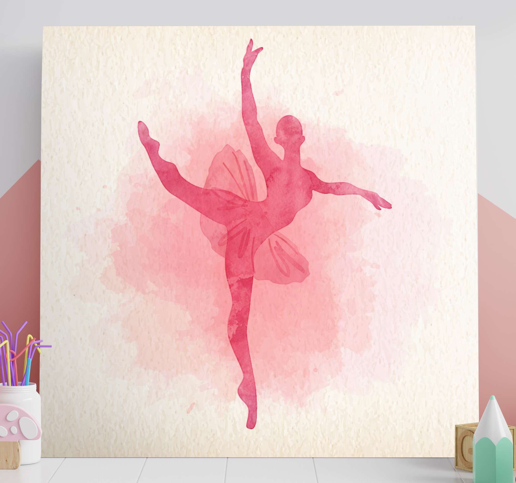TenStickers. Multicolour Ballerinae canvas wall art. This amazing customizable wall art canvas will look amazing in your little girls nursery! It features silouhette of a pink dancer
