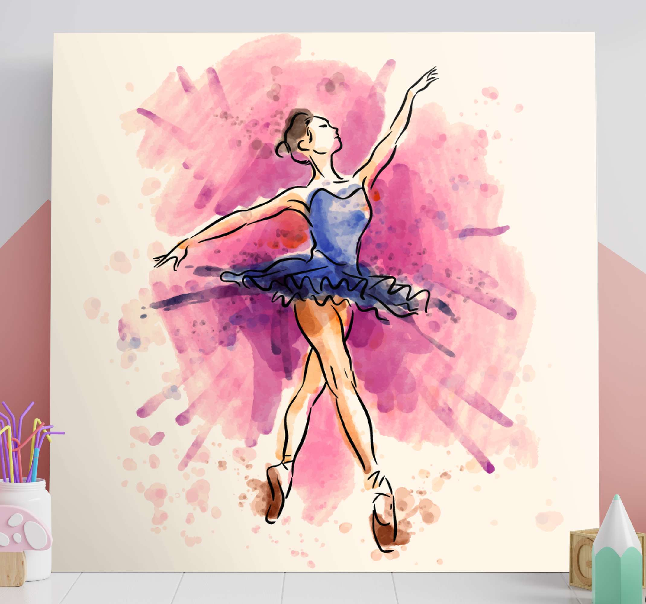 TenStickers. фиолетовый балерина холст стены искусства. пусть ваша страсть к классическому танцу процветает с этим настенным холстом, созданным для вас! это полотно будет потрясающе смотреться в любой комнате!
