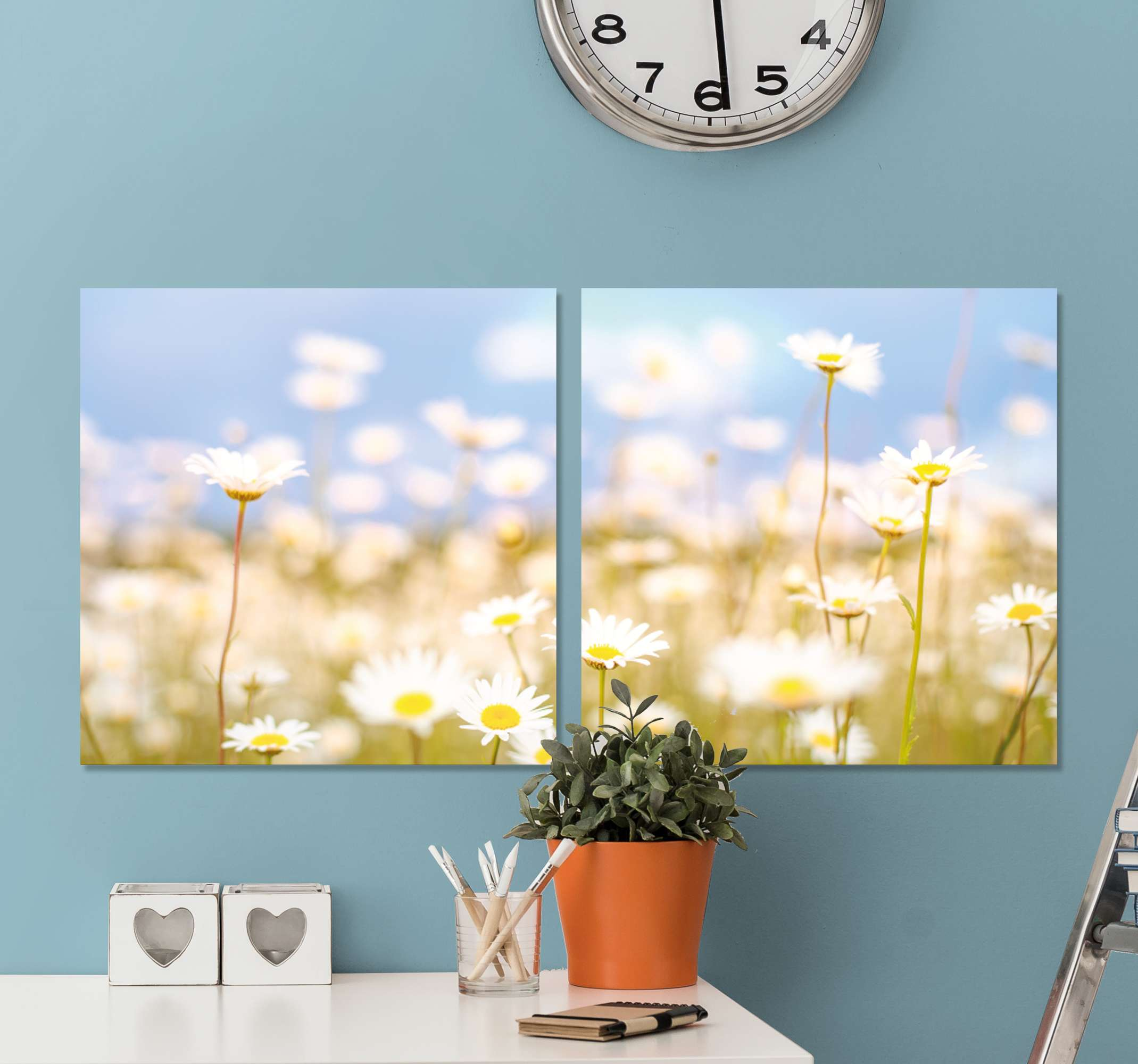 TenStickers. 3D flores blancas grandes 3D wall art prints. The canvas is printed with high quality finish, it is durable, uv resistant and fade resistant. Order now ! Homr delivery !