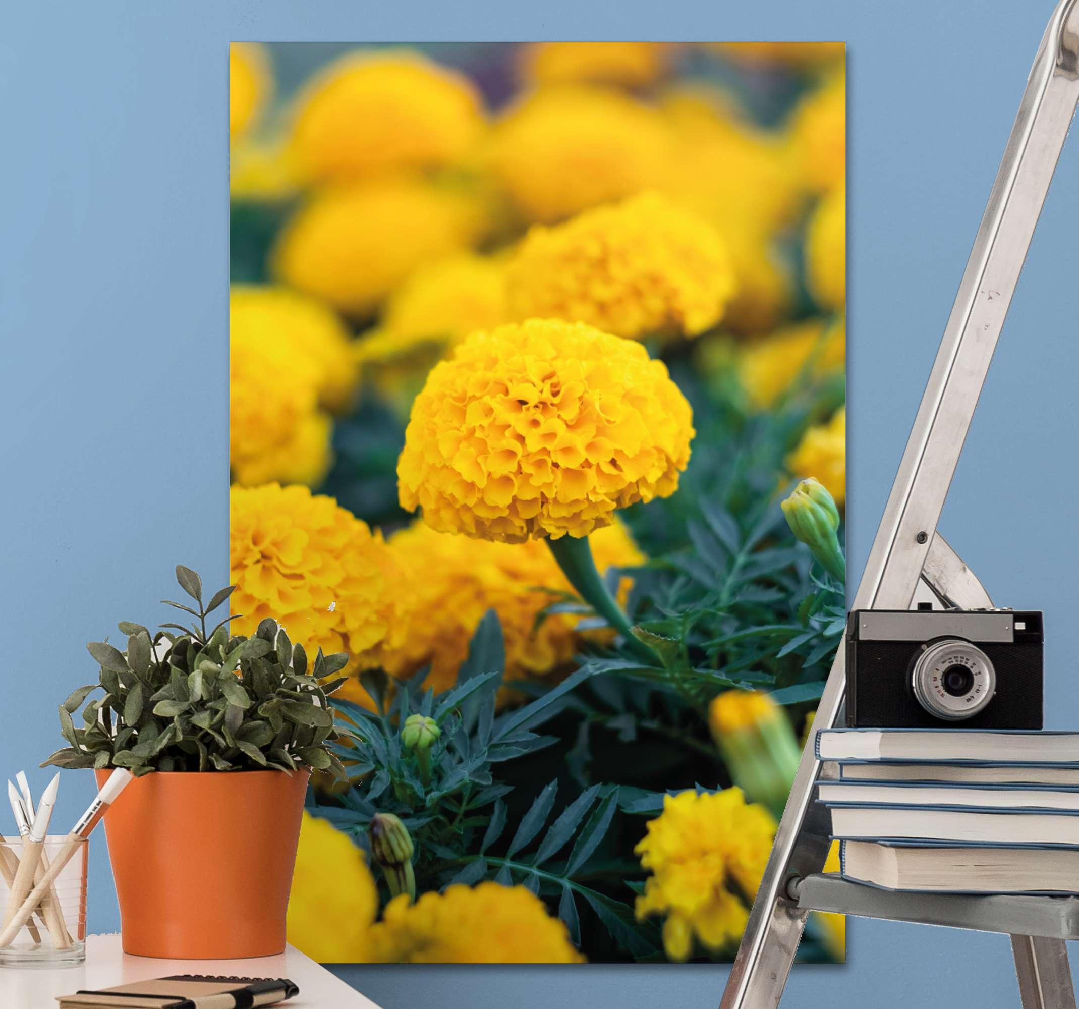 TenStickers. 3D gele bloemen canvas schilderen . Mooi gele bloemen canvas voor thuis en gemeenschappelijke ruimtes zoals woonkamer, kantoor, woonkamer, gastenverblijf, enz