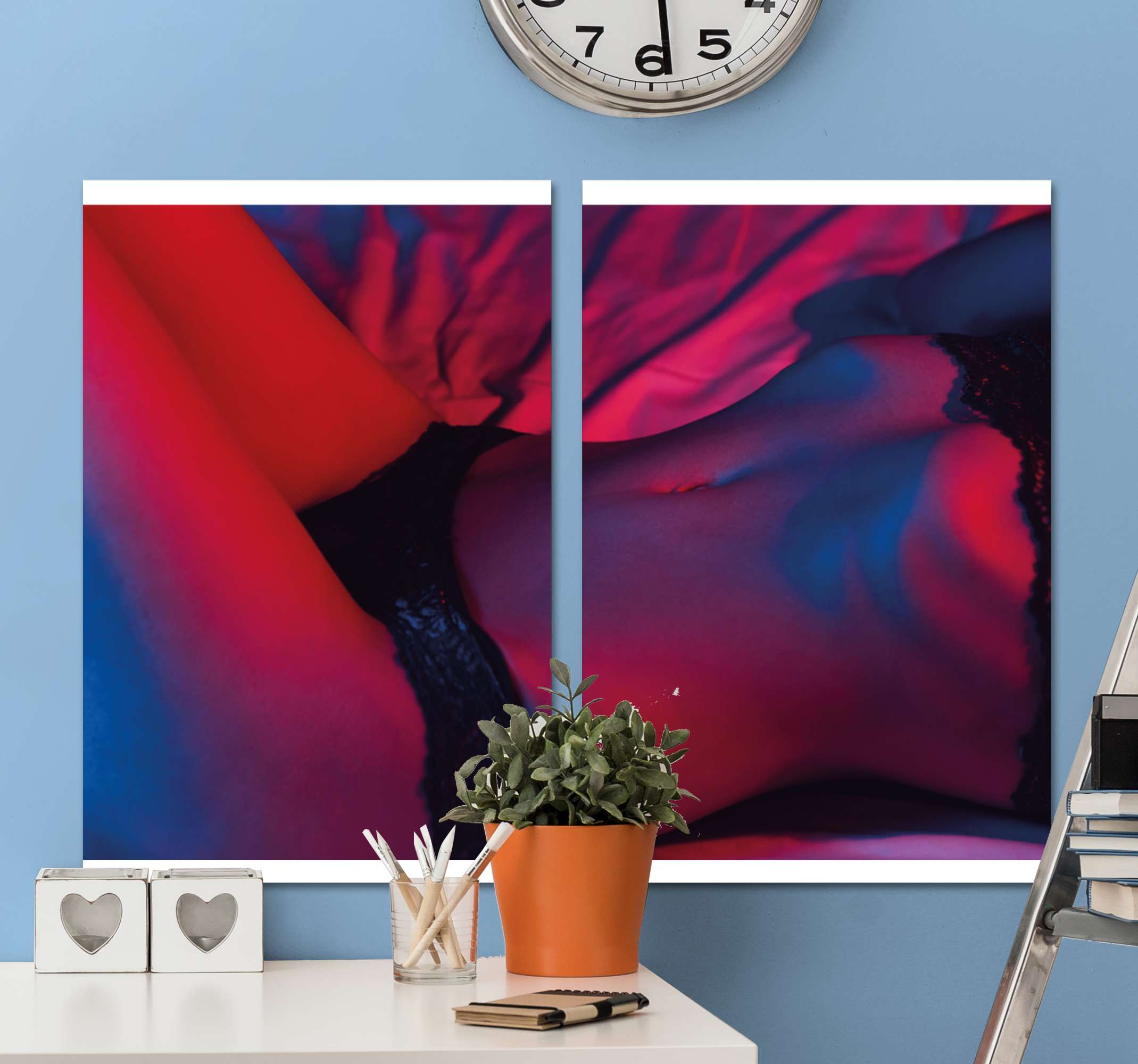 TenStickers. 여자 몸 3d 벽 예술 인쇄. 침대에 누워있는 여성의 몸을 디자인 한 에로틱 한 캔버스 벽 예술. 그것은 연인을위한 에로틱 한 여성의 몸 캔버스. 그것은 독창적이고 내구성이 있습니다.