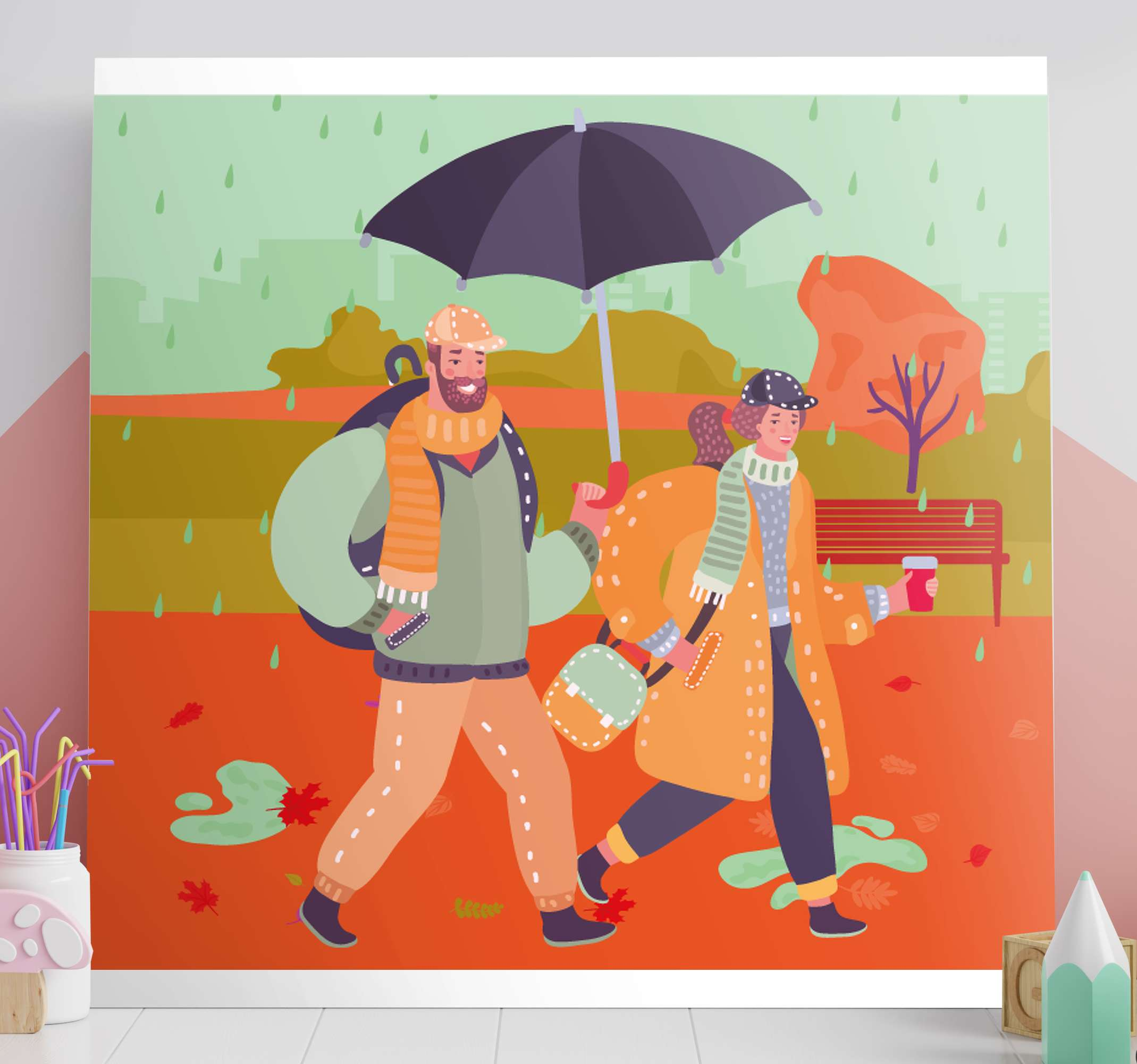 TenStickers. 3D lovers in the rain 3D wall art prints. Lovely 3D canvas wall art with illustration design of lovers in the rain with an umbrella. It is printed in high quality finish and durable.