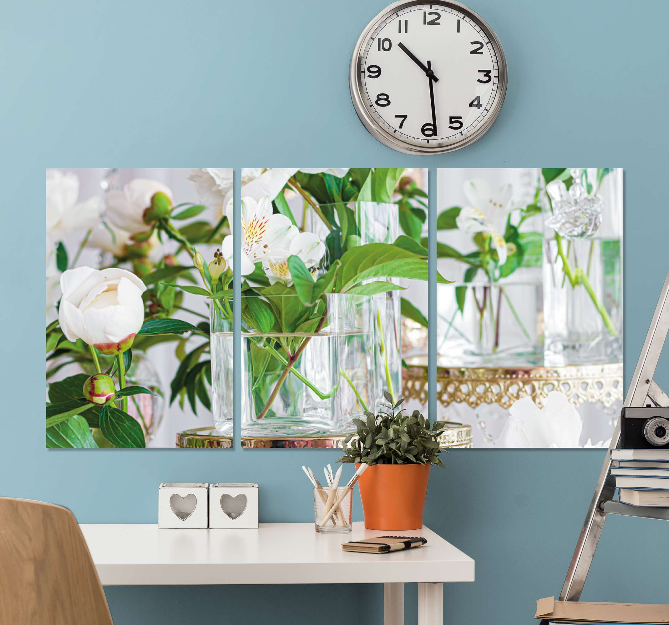 TenStickers. 3D roses in vases wall art prints. Looking to decorate your home with a touch of nature effect and elegance? then this amazing 3D roses in vases canvas prints is for you.
