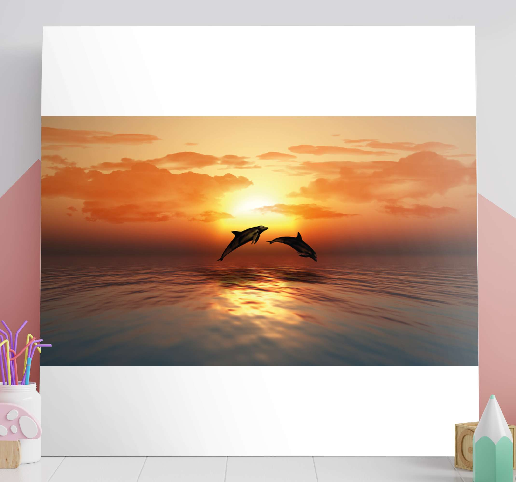 TenStickers. 3D Jumping Dolphins wall art prints. Canvas print with dolphins. The animals are jumbing over water surface during a sunfall. Easy to hang on a wall or place freely on a desk.