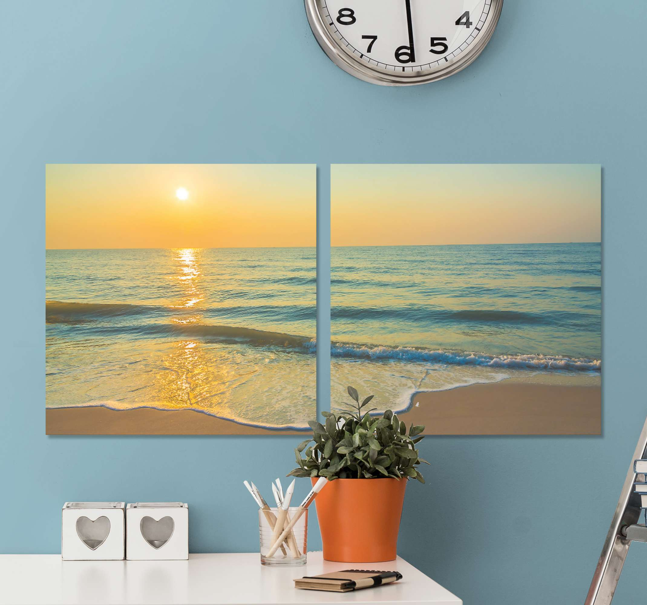 TenStickers. 3D window with views 3D wall art prints. An original and lovely canvas wall art print with an amazing view of the beach with sunset.  The canvas is printed in high quality finish.