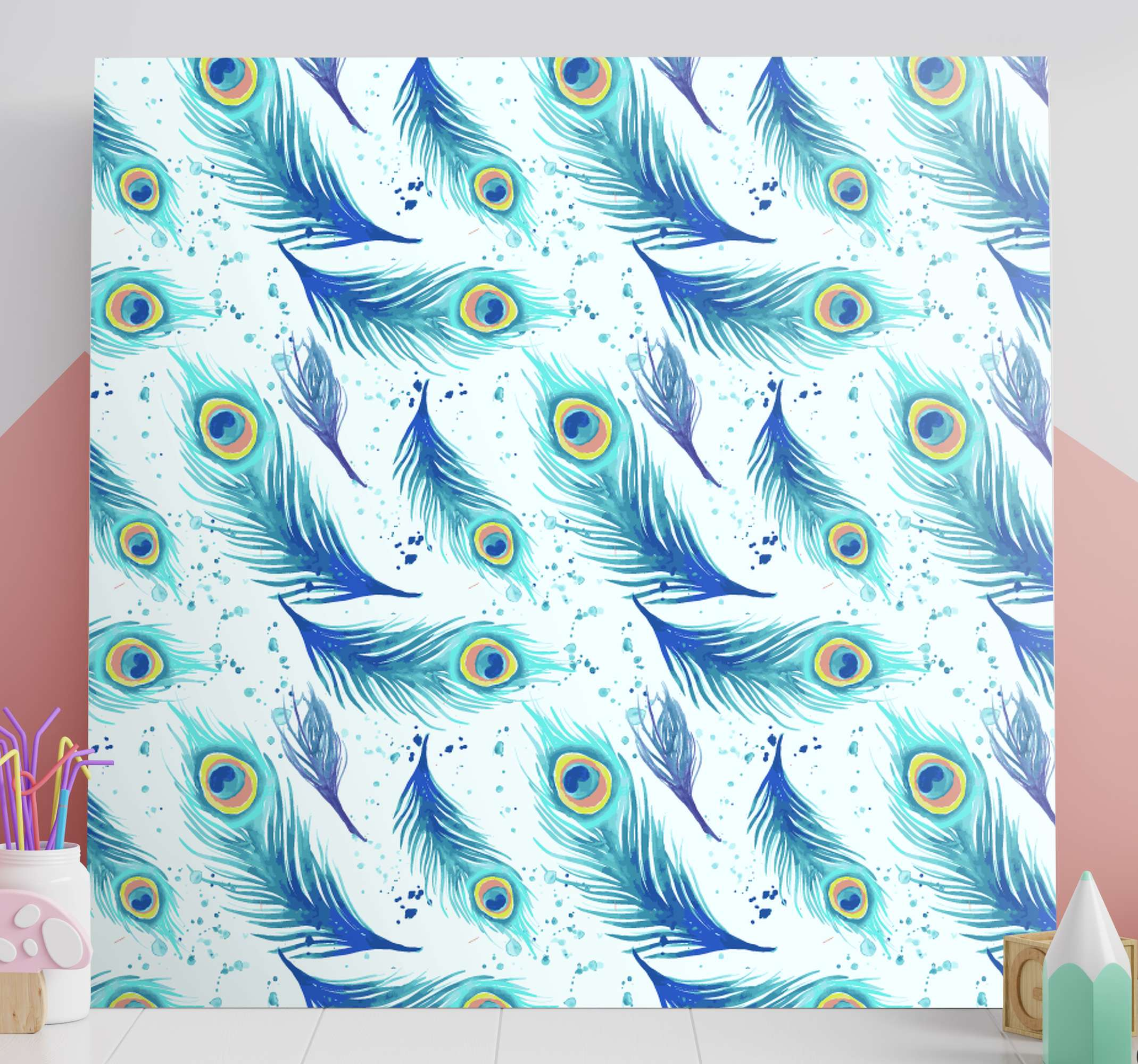 TenStickers. Blue Peacock Feather canvas. Canvas print with peacock feathers. The patternshows many peacock feathers on a white background. Made of high quality vinyl.