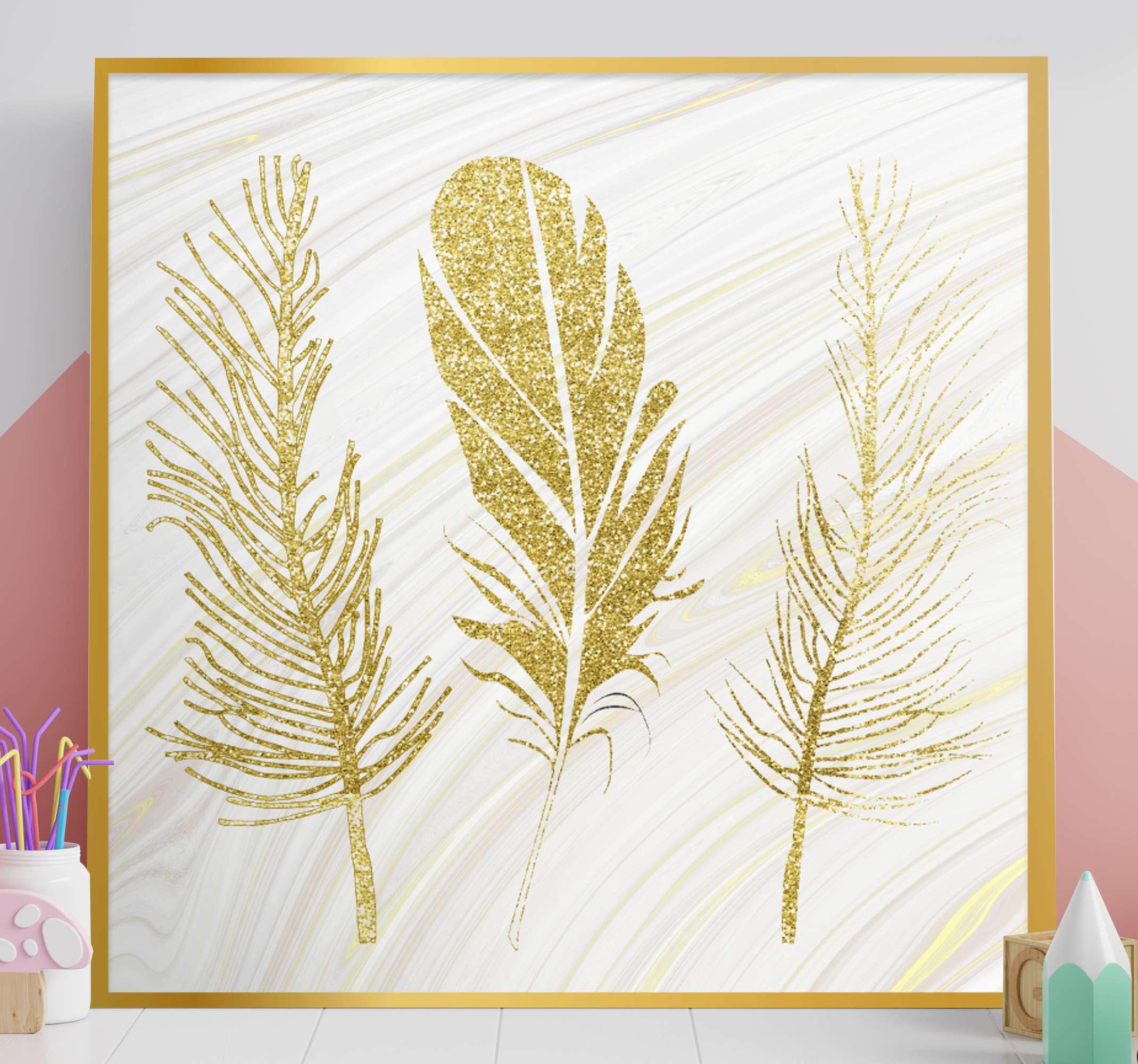 TenVinilo. Cuadro estilo rústico plumas doradas. Un increíble cuadro estilo rústico de plumas que es moderno y elegante. Diseño para que decores de forma vintage ¡Envío exprés!