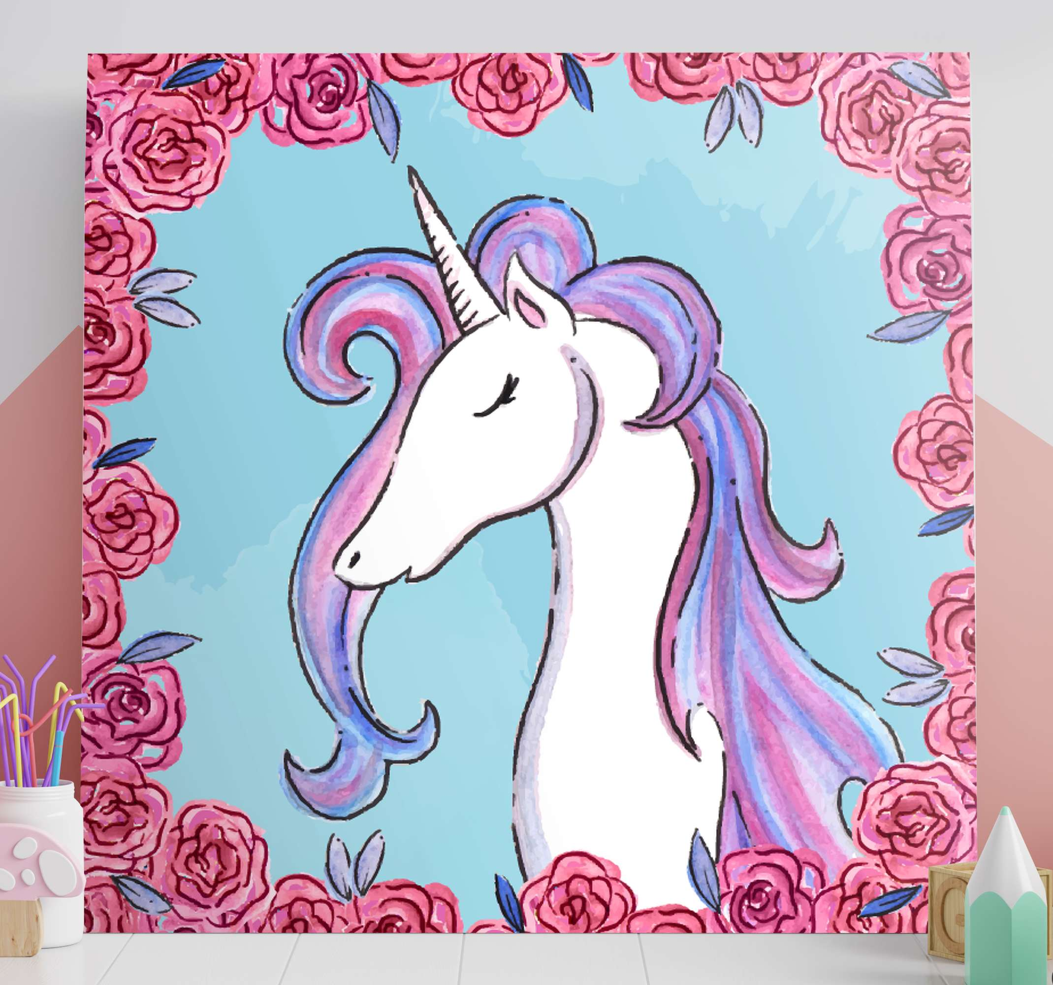 TenStickers. Lilac tone unicorn canvas wall art. A gorgeous unicorn canvas print that will add uniqueness and character to your home. Chose the size and finish that is perfect for you.