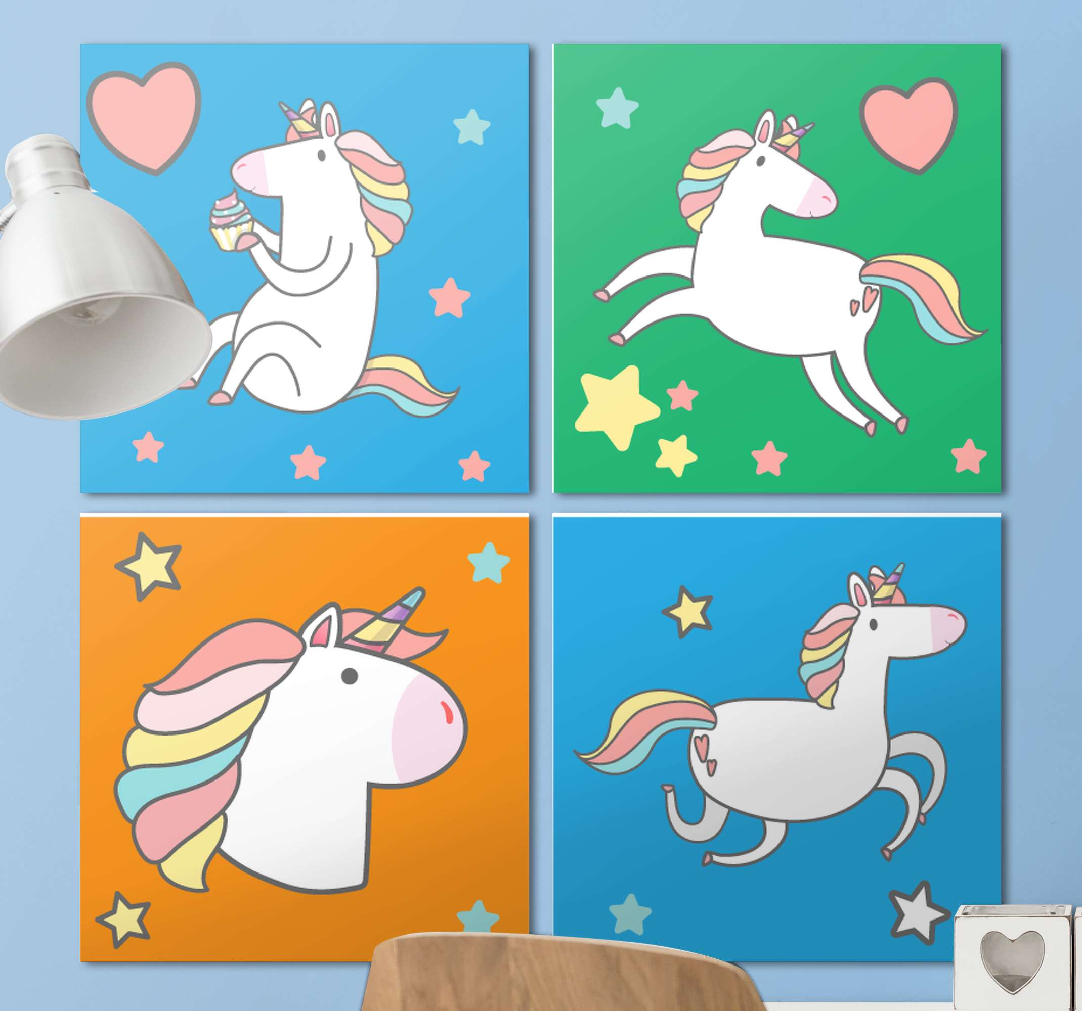 TenStickers. Four Unicorn Kids canvas wall art. Incredible unicorn canvas pictures that will look incredible on the walls of your home. You can place them however you like!