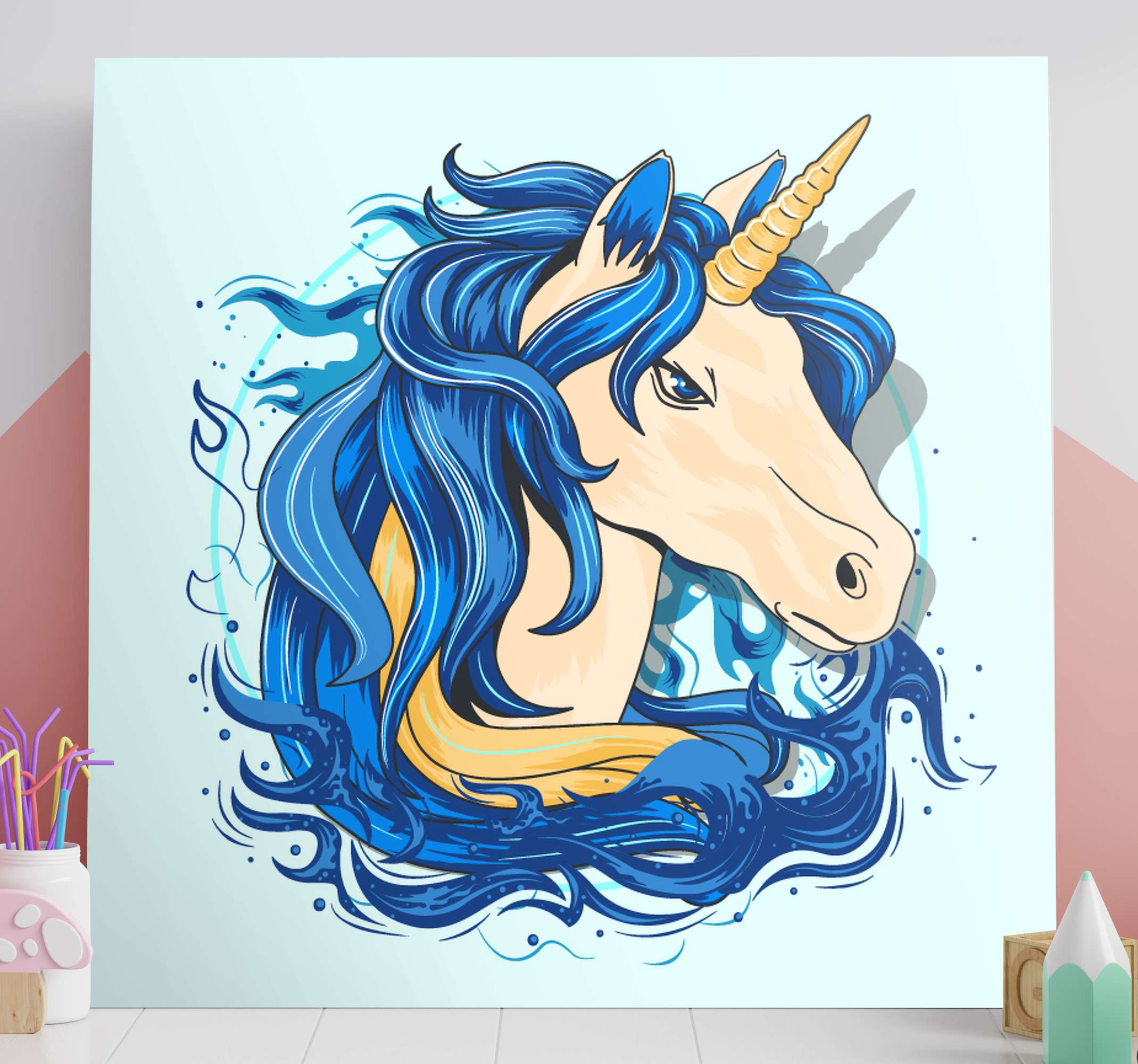 TenStickers. Shades of blue realistic unicorn canvas wall art. Beautiful blue fairy fantasy unicorn canvas wall art. Suitable to decorate any room in a house and for living room, office, lounge, saloon, etc.