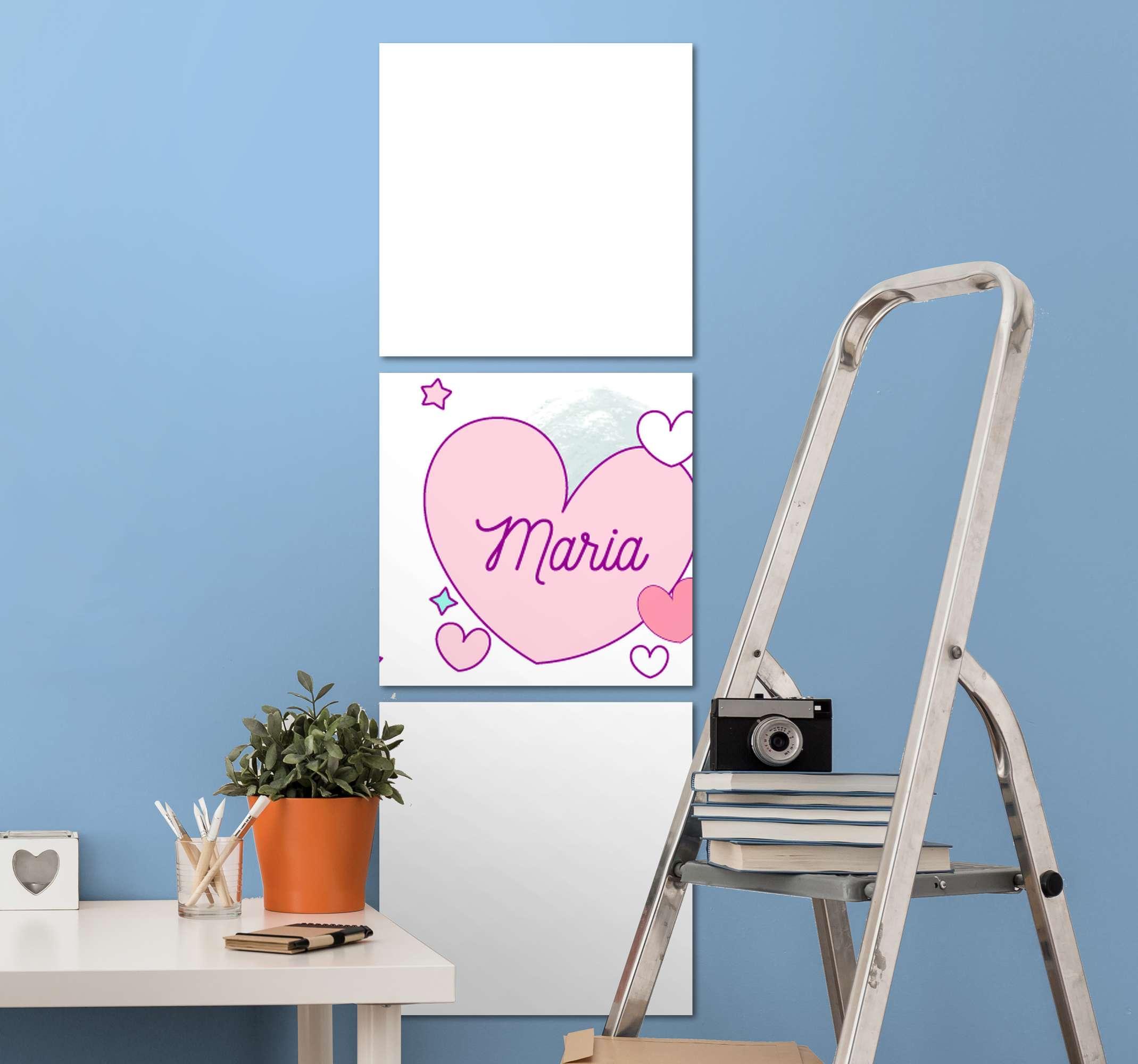 TenStickers. Tableau Licornes de coeur avec des noms. Cet art mignon de toile d'illustration de licorne peut être décoré sur n'importe quel espace dans la maison. Il est original, durable et imprimé avec une finition de haute qualité.