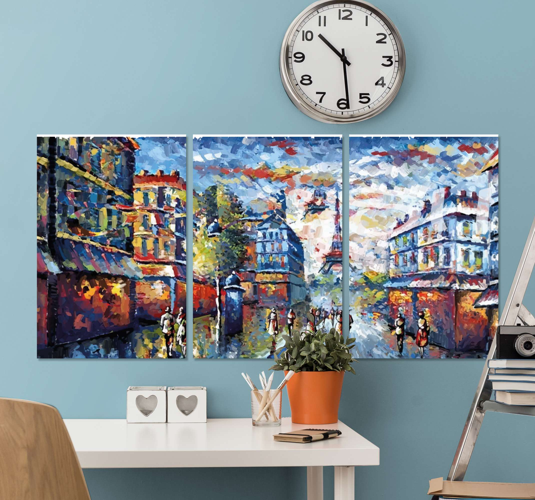 TenStickers. Paris bohemian art watercolor style canvas art. Beautiful bohemian painting canvas of Paris city illustration. The canvas art painting illustrates the Eifel tower landmark with Paris cityscape.