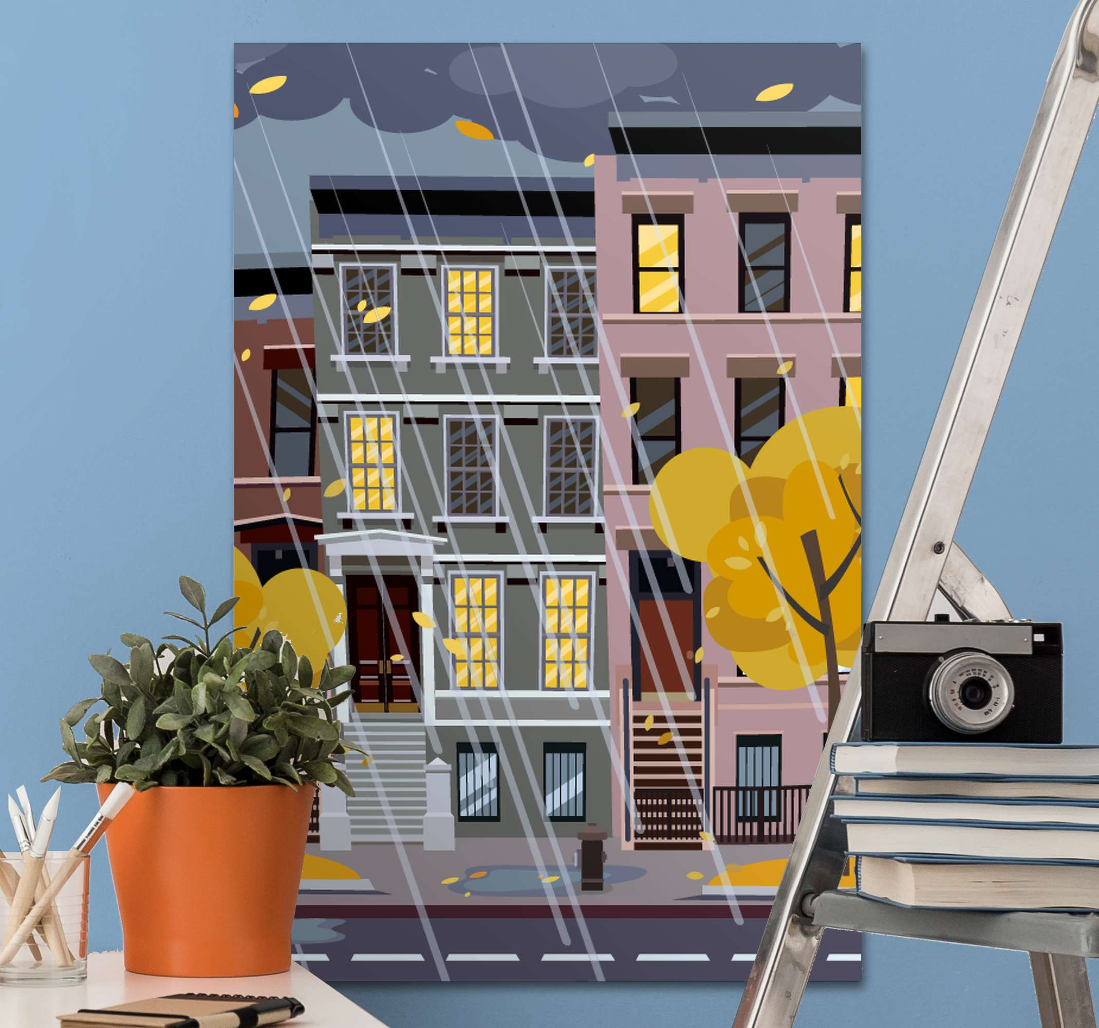 TenStickers. New York Rain canvas art. A wonderful city canvas wall art featuring a rainy scene in New York City! Get 10% off your first order when you sign up.