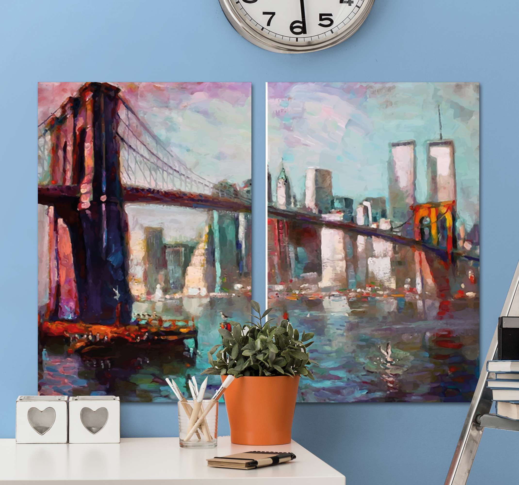 TenStickers. Canvas schilderen San Francisco skyline. Prachtige San Francisco skyline canvas schilder met de iconische golden gate brug! Gemakkelijk aan te brengen en te verwijderen wanneer dat nodig is.