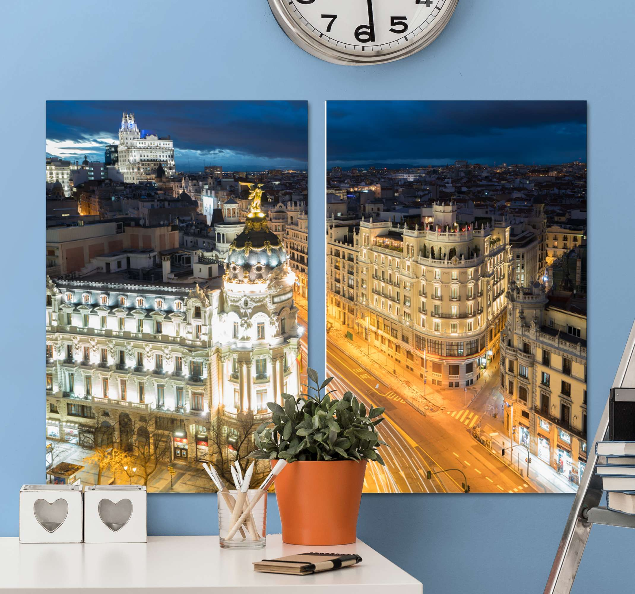 TenStickers. gran vía Madrid canvas art. City lovers will adore this Madrid canvas wall art perfect for any home! Discounts available when you sign up to ur website.