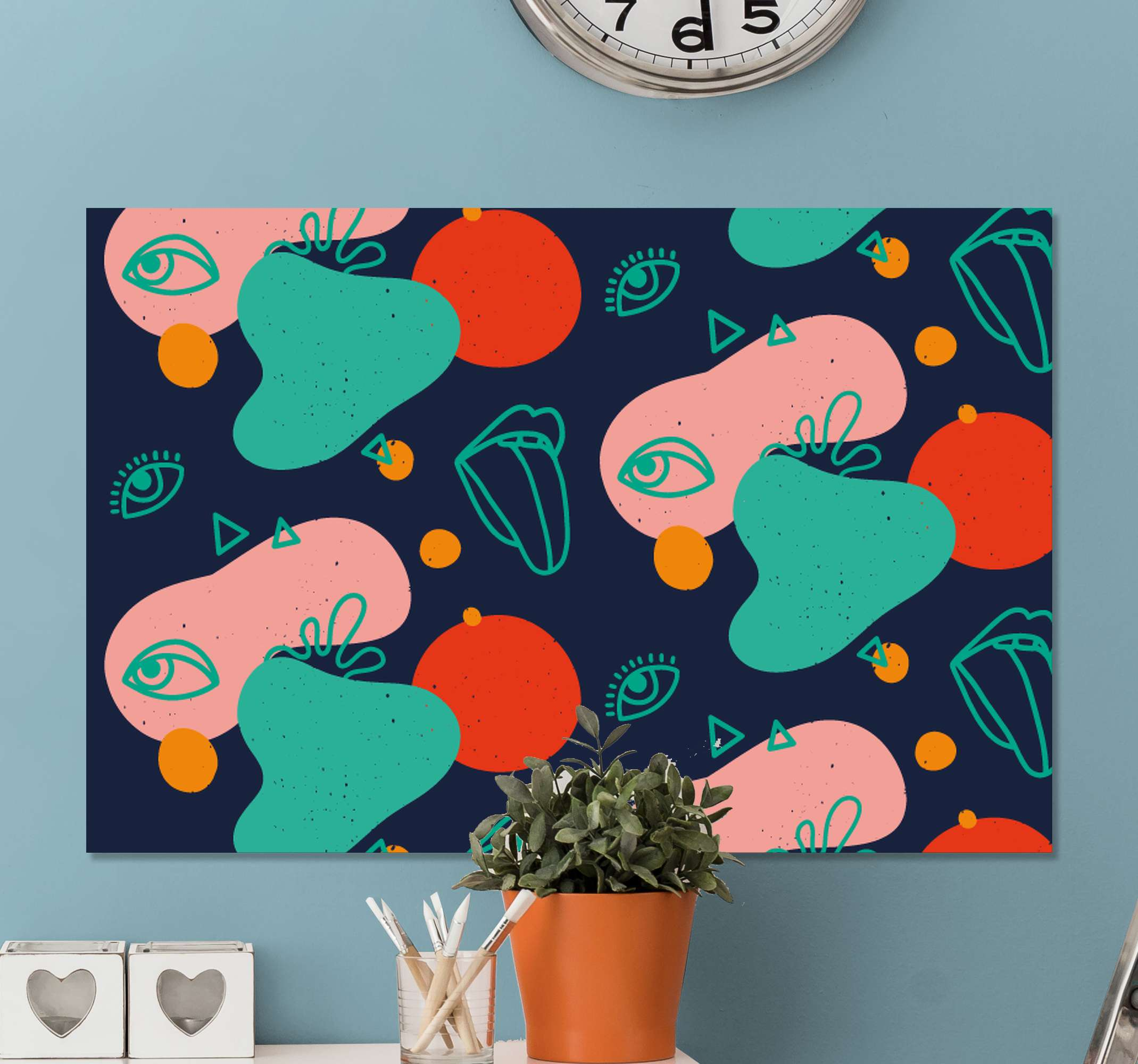 TenStickers. 孟菲斯的嘴唇和眼睛画布艺术. 令人难以置信的详细彩色画布墙艺术,非常适合您的家!拥有+10,000名满意的客户,您将放心。