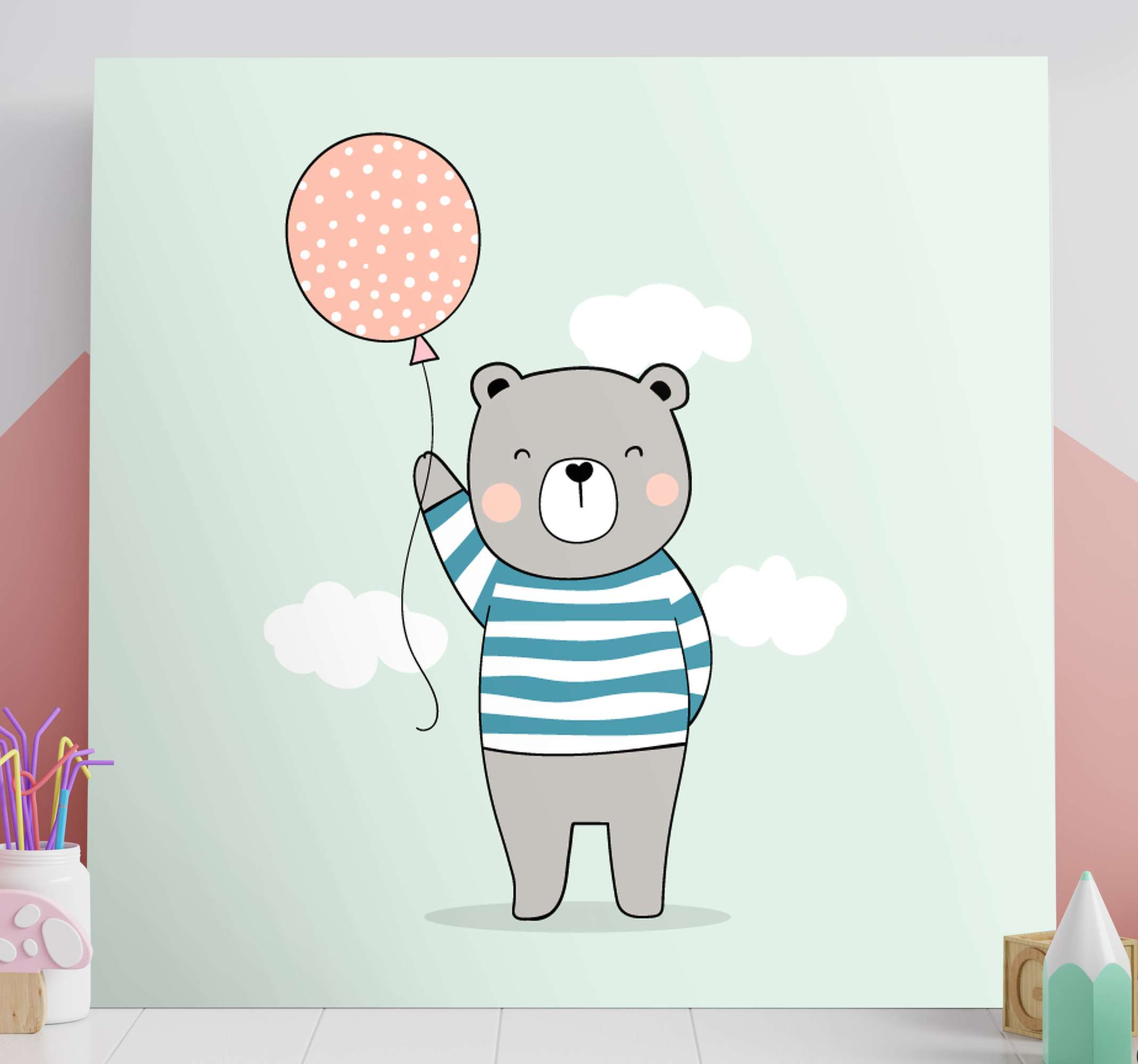 TenStickers. bebe oso peluche wall pictures for nursery. Super adorable teddy bear wall picture for nursery that both you and your little one will love! Discounts available online.