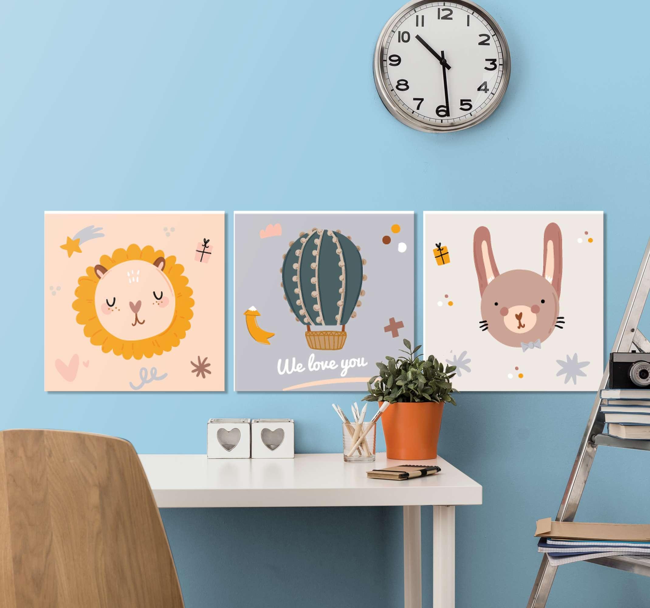 TenStickers. 幼儿园的贝贝·蒂普蒂科动物基金会的壁画图片. 可爱的三个孩子帆布壁画包,非常适合他们的托儿所或房间!非常容易悬挂且易于维护。