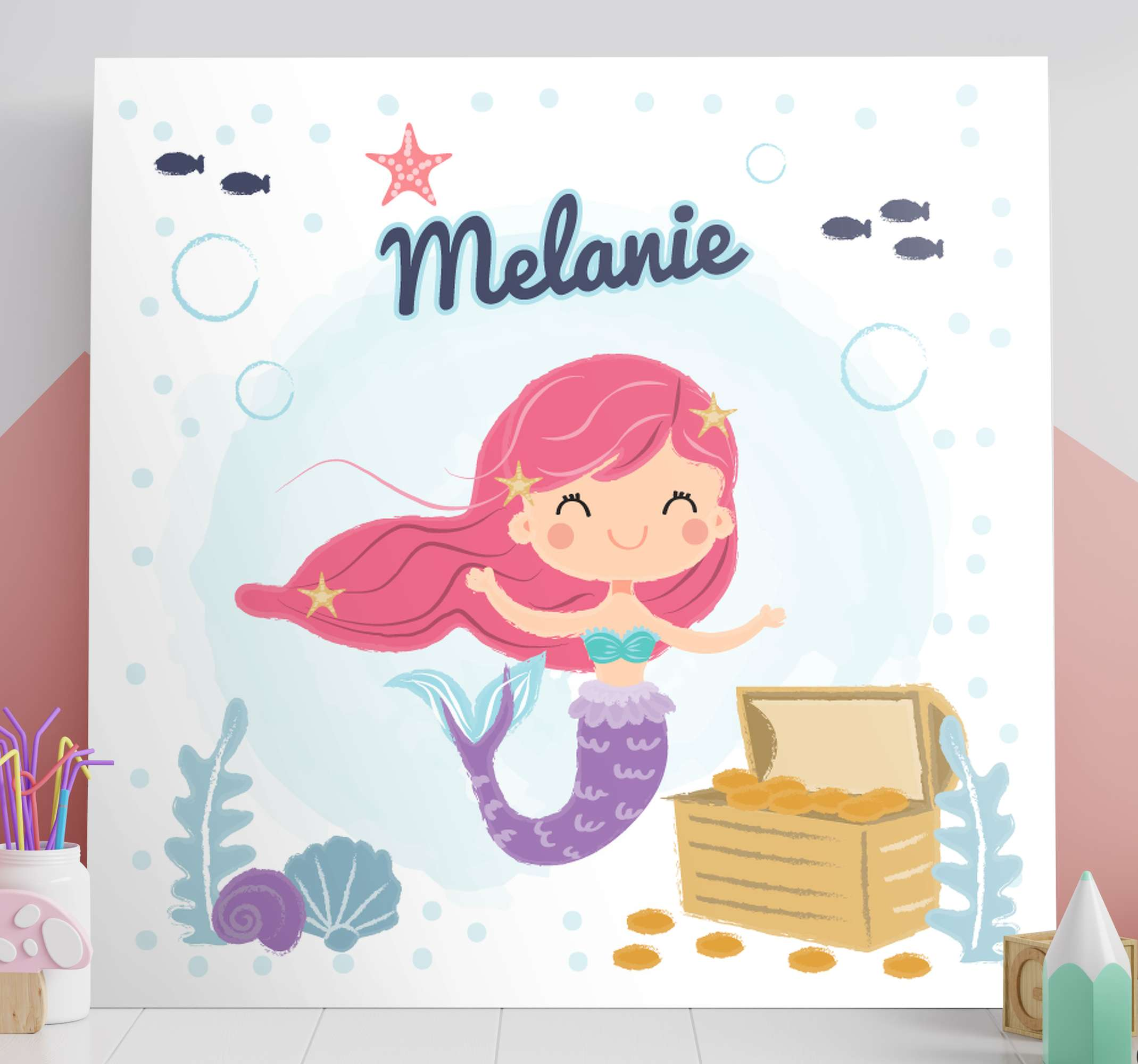 TenStickers. bebe de sirena con nombre wall pictures for nursery. An incredible kids customisable canvas print featuring a mermaid for their room or nursery. Discounts available right now.