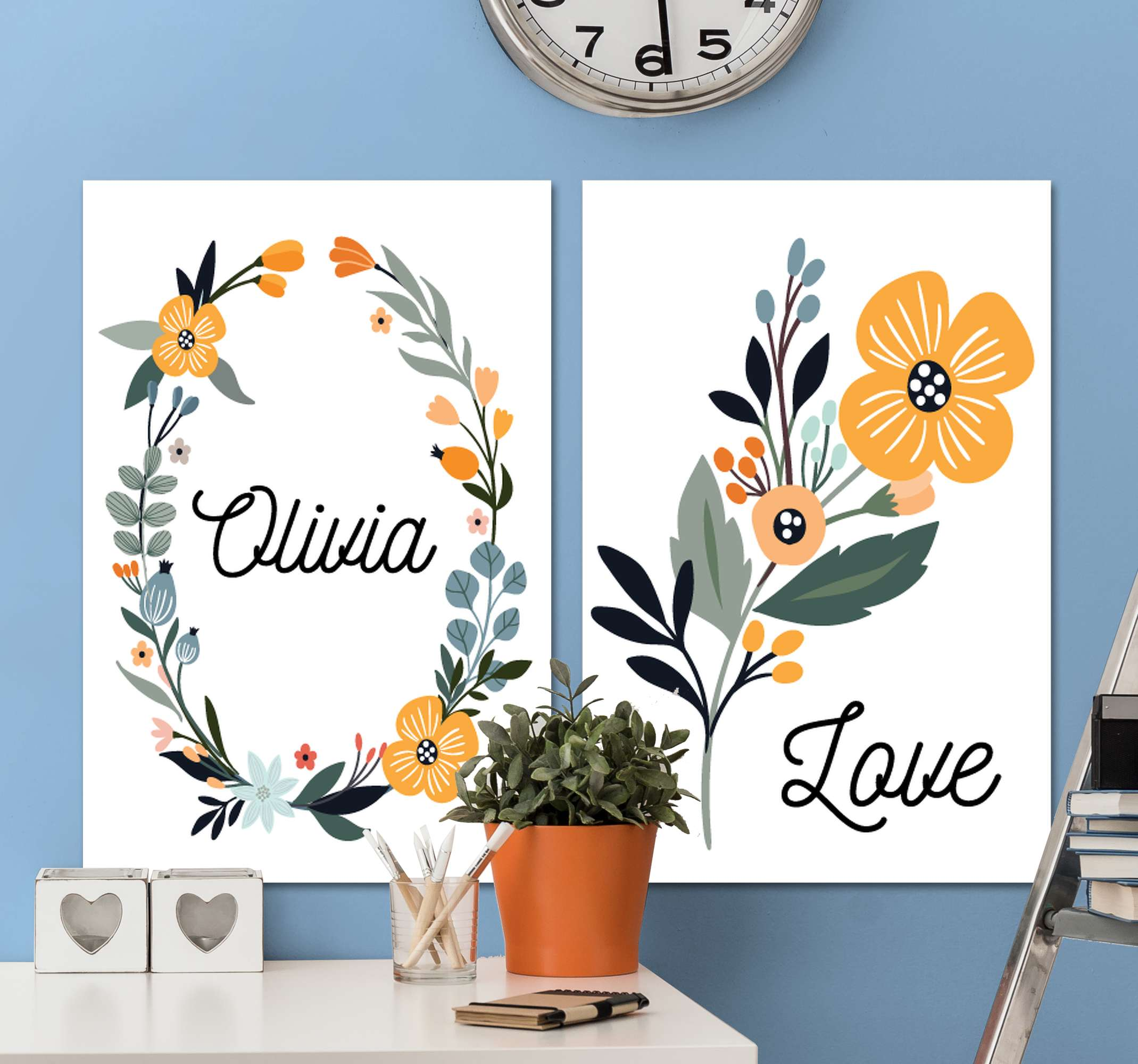 TenStickers. bebe de flores con nombre wall pictures for nursery. Amazing floral inspired customisable canvas prints that will look amazing in your home! Discounts available online today.