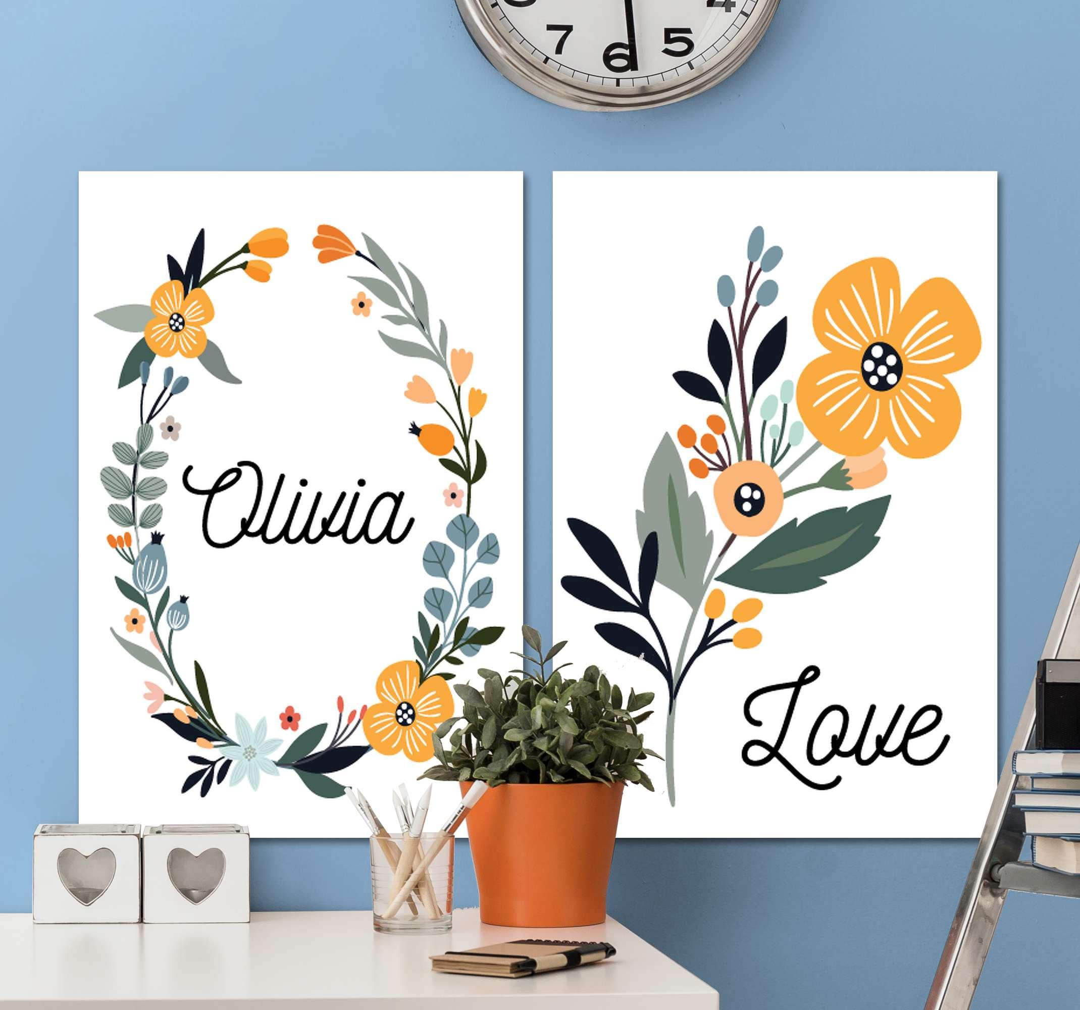 Tenstickers. Bebe de flores con nombre väggbilder för barnkammare. Fantastiska blommor inspirerade anpassningsbara kanvastryck som kommer att se fantastiska ut i ditt hem! Rabatter tillgängliga online idag.