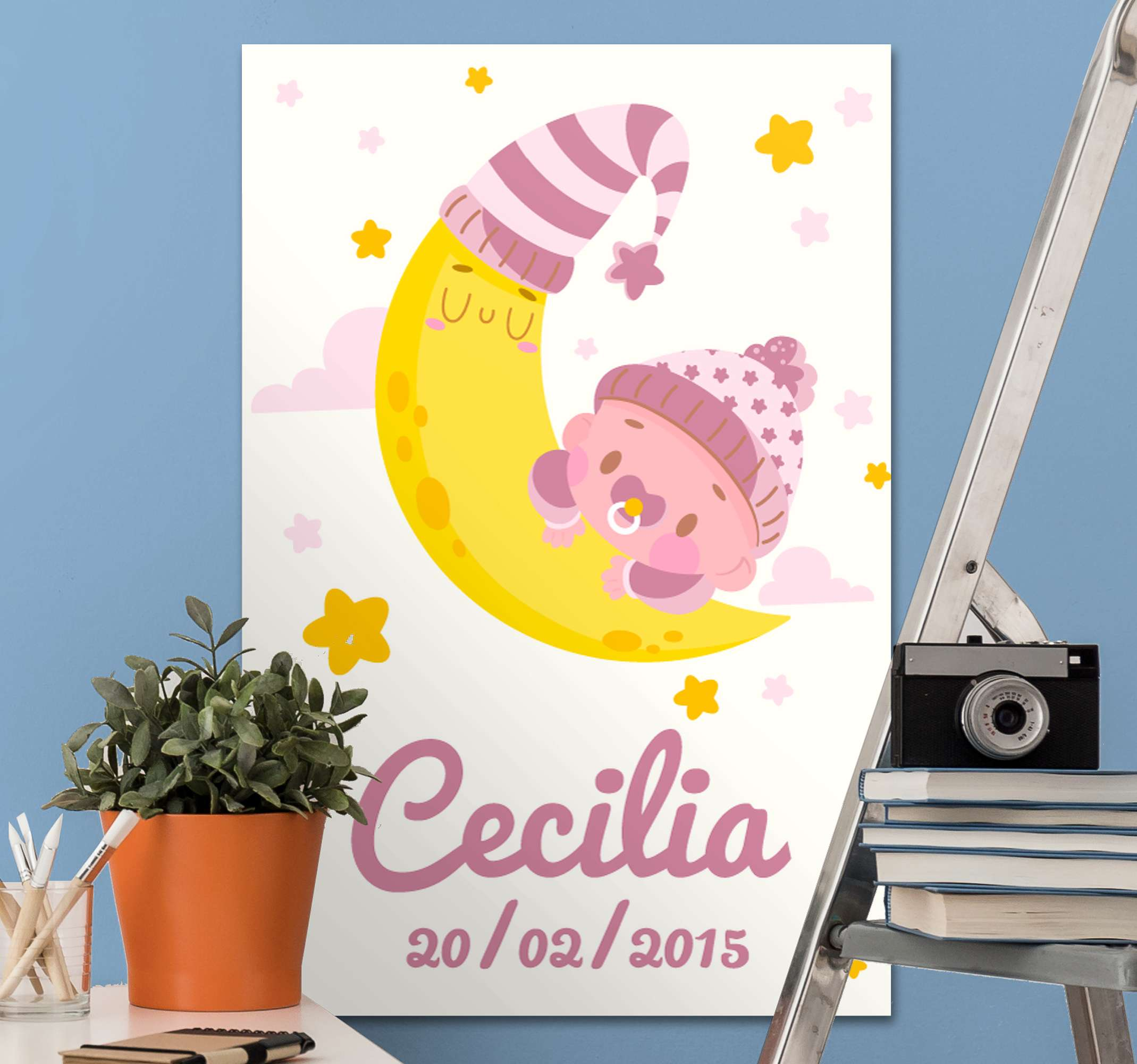 TenStickers. Bebe nombre y datos wall pictures for nursery. Beautiful customisable wall art canvas with a name and birth date for your Childs nursery! Sign up for 10% off your first order.