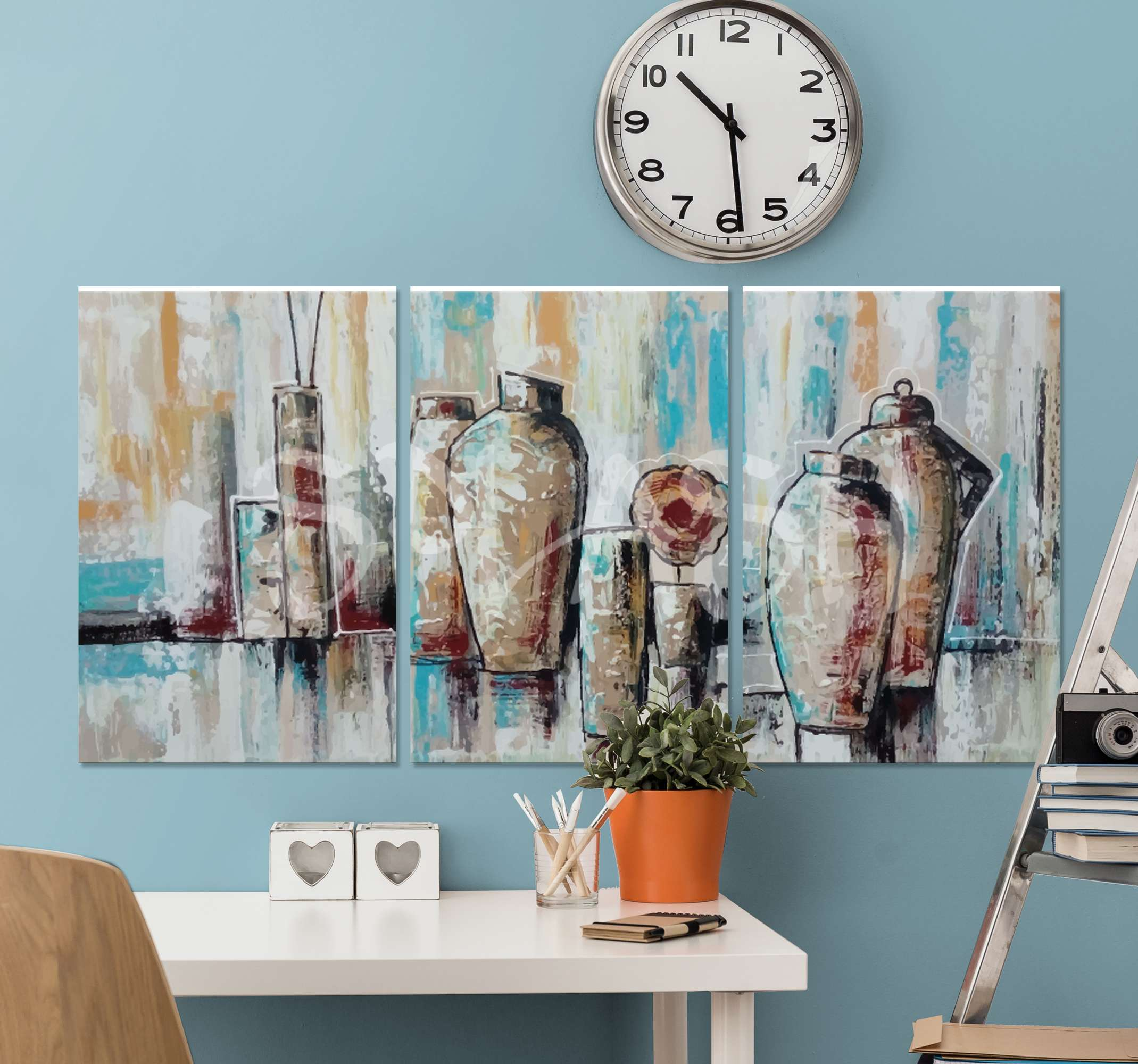 TenStickers. Painted Turquoise baroque canvas art. A host of incredible jar canvas prints that will add such great uniqueness to your home. Discounts available today online.