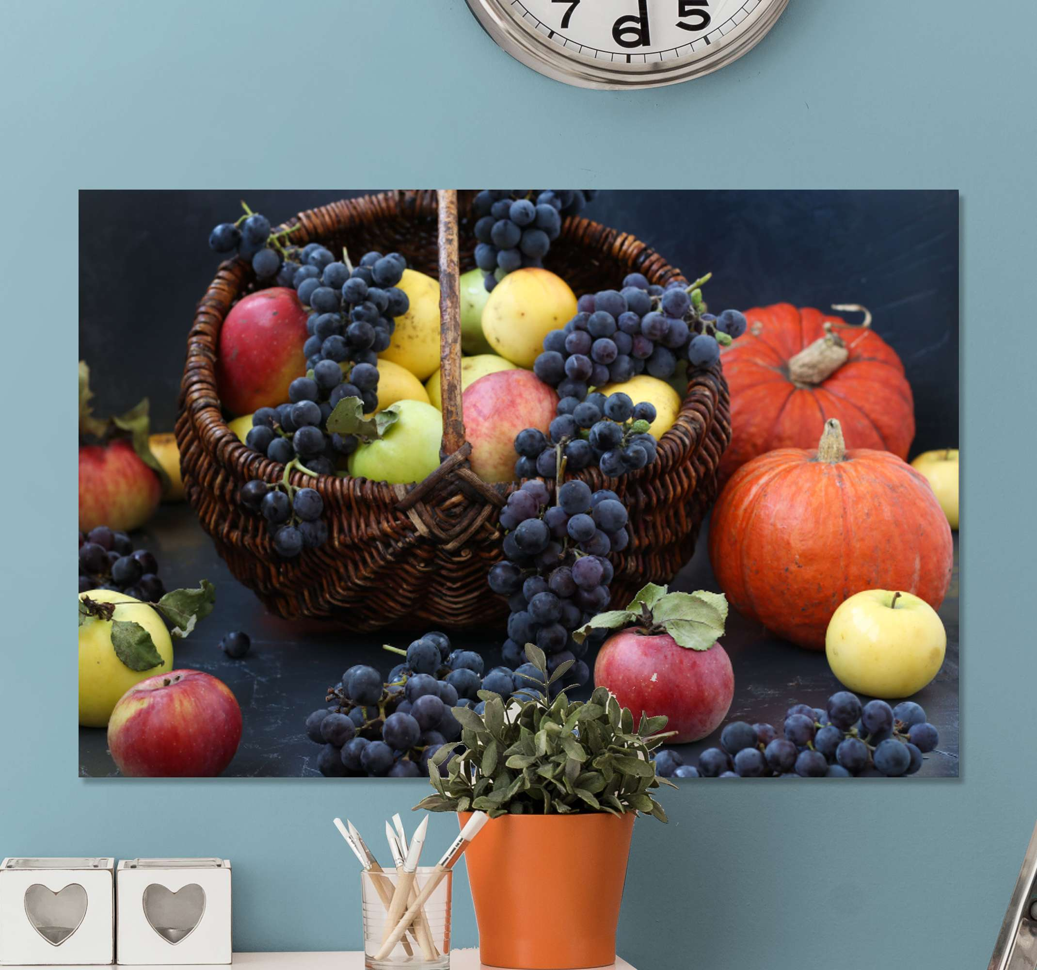 TenStickers. Fruit Basket canvas art. A stunningly realistic fruit canvas wall art to add to the walls in your home. Choose the perfect finish, size and quantity for you.