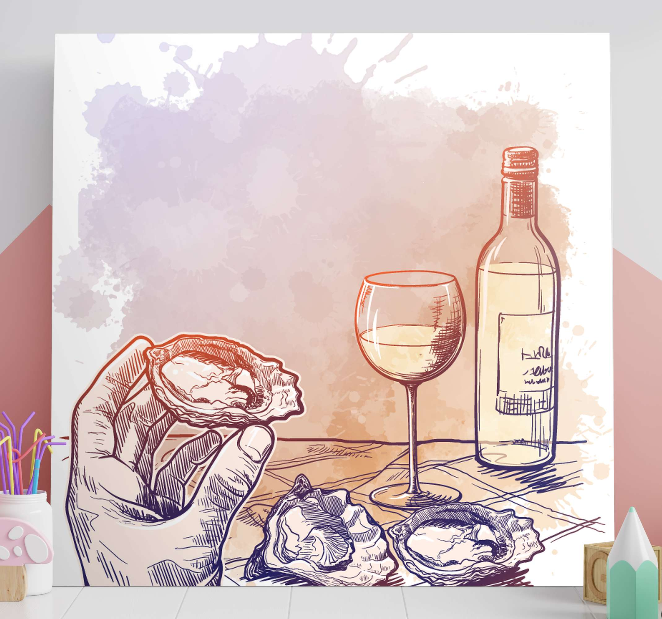 TenStickers. Bottle and cups of wine  fruit canvas art. Incredible wine canvas print with beautiful watercolour scenery! With +10,000 satisfied customers you are in safe hands.