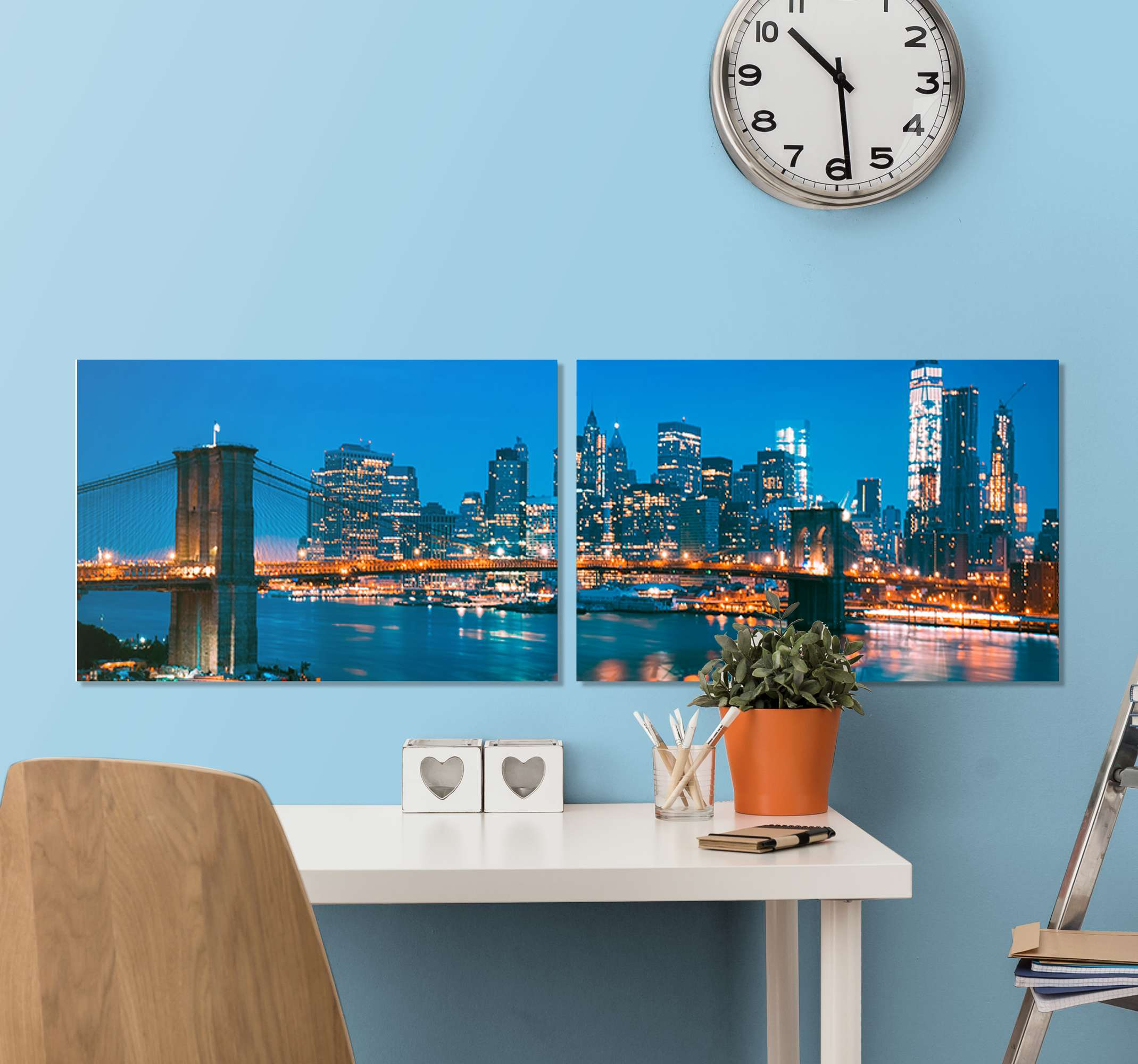 TenStickers. Skyscraper of New York East river at night City skyline prints. What a lovely and breath taking illustrative NYC skyscraper East river at night canvas art design. Suitable for home, office, shop, lounge decoration.