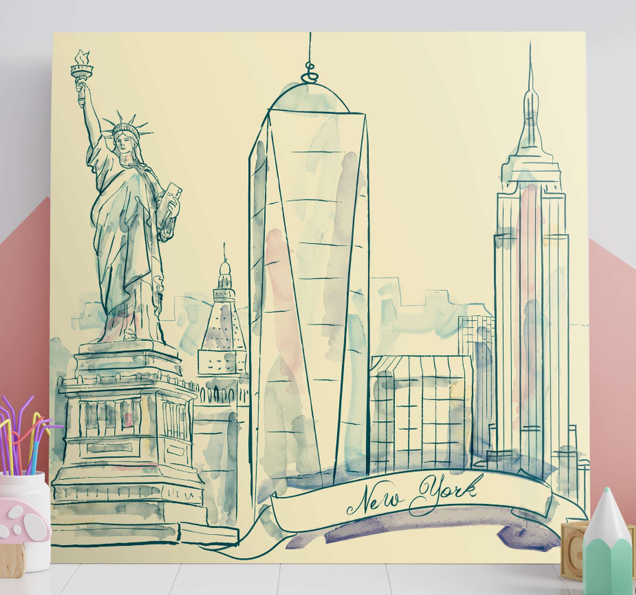TenStickers. Ciudades New York estatua de la Libertad City skyline prints. Let yourself be seduced by this Canvas of the unique City of New York! With this canvas of the splendid city of New York, your home will look great!