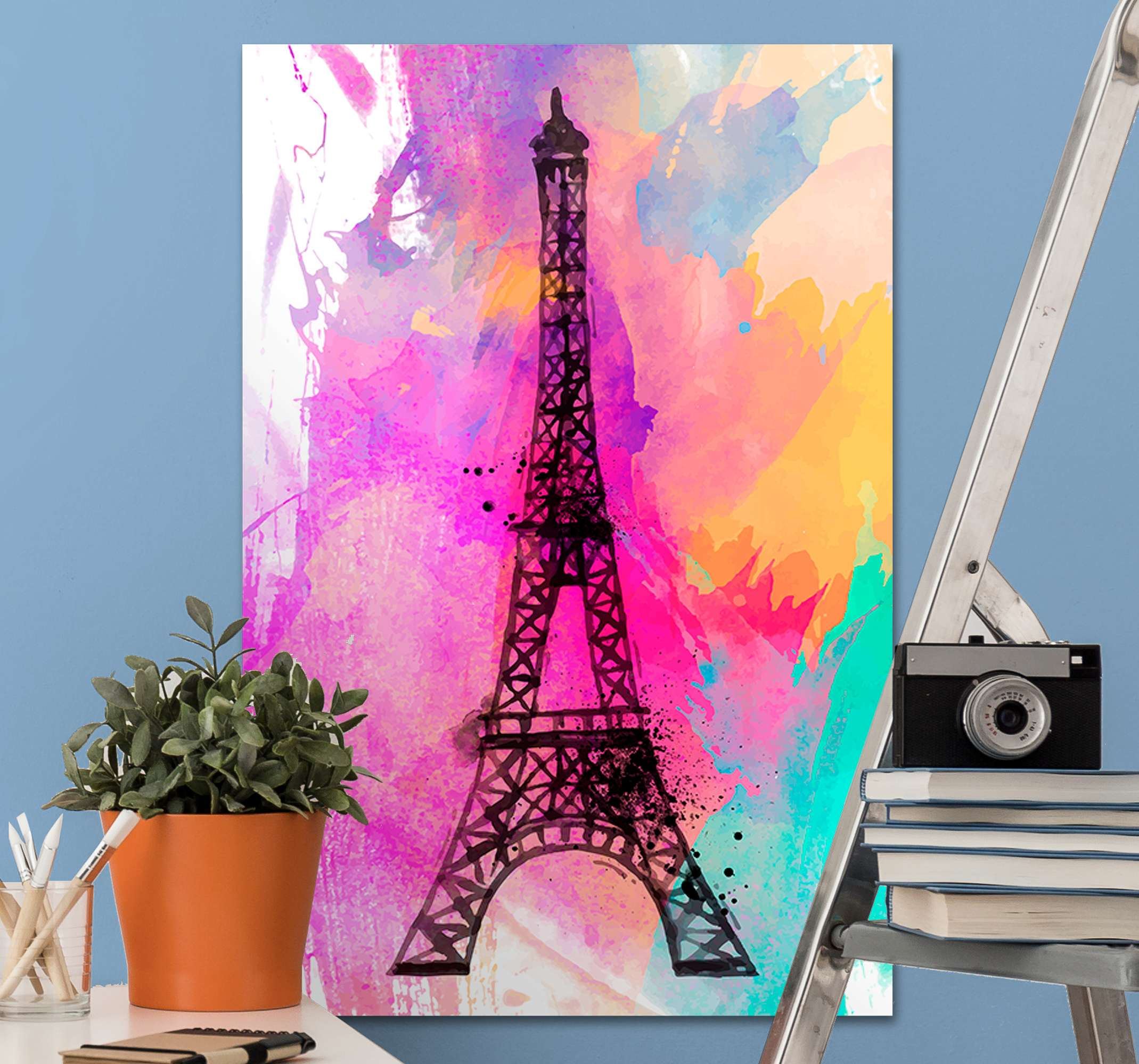TenStickers. Paris Eiffel tower colorful city skyline prints. Paris painting Eiffel Tower landmark canvas wall print to brighten the decor of your home, office, living room, guest space, lounge, etc.